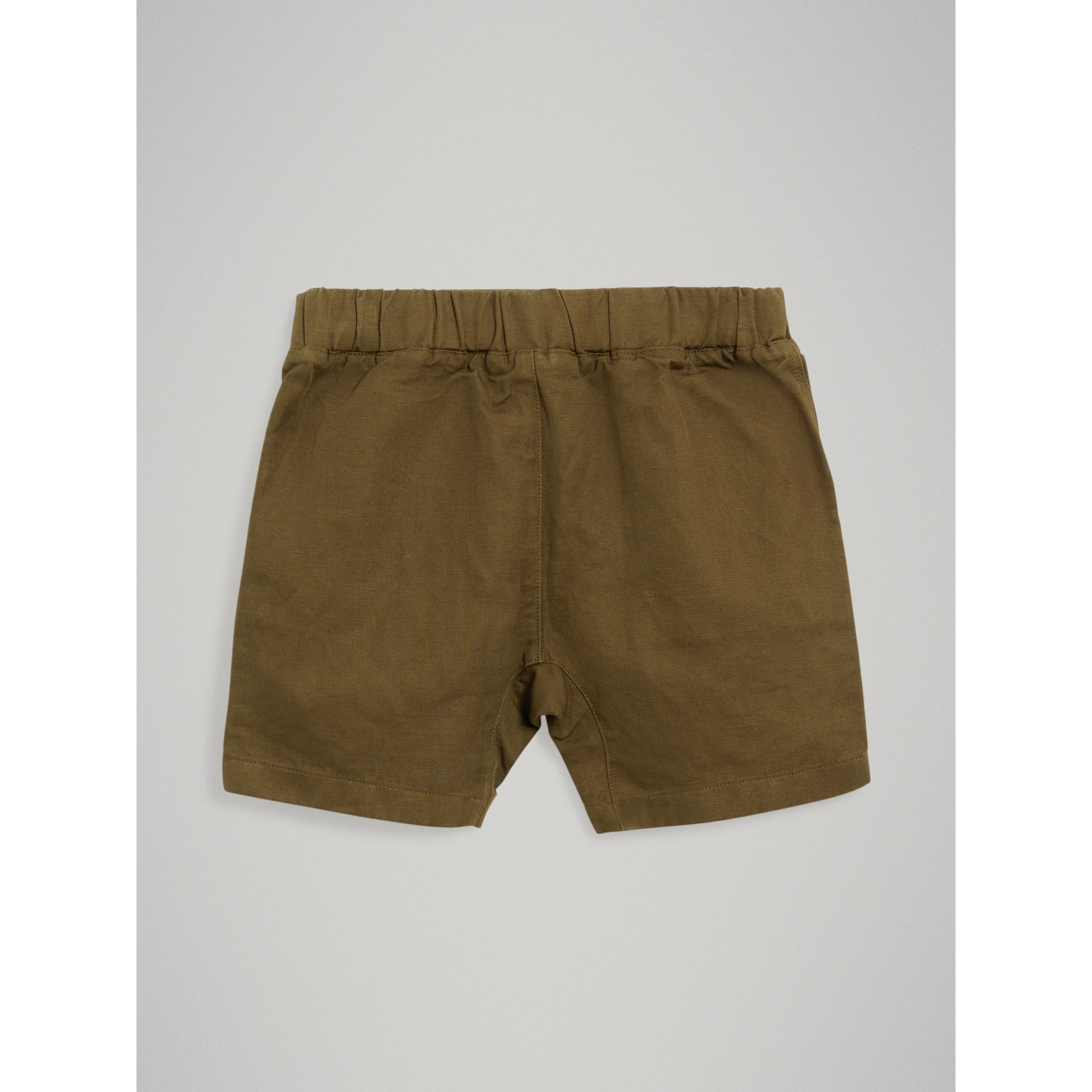Drawcord Cotton Linen Twill Shorts in Olive - Boy | Burberry United Kingdom - gallery image 3