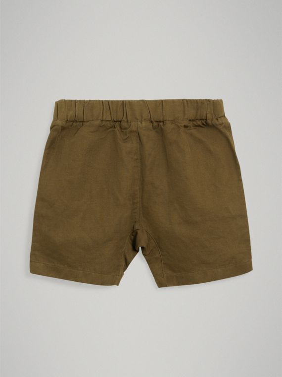 Drawcord Cotton Linen Twill Shorts in Olive - Boy | Burberry United Kingdom - cell image 3