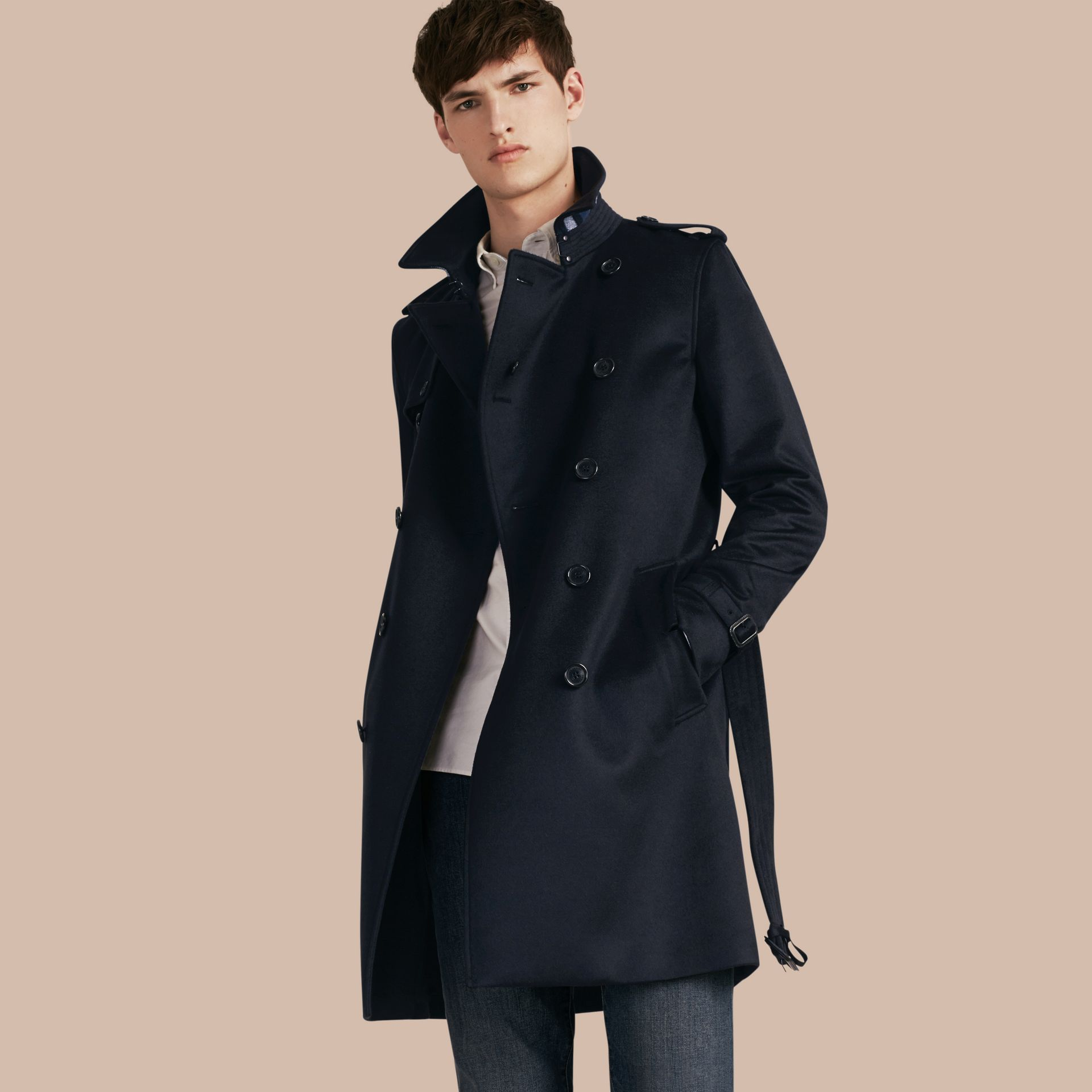 Marine Trench-coat en cachemire Marine - photo de la galerie 1