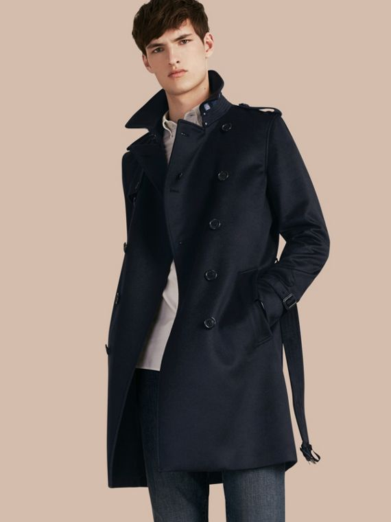 Cashmere Trench Coat Navy