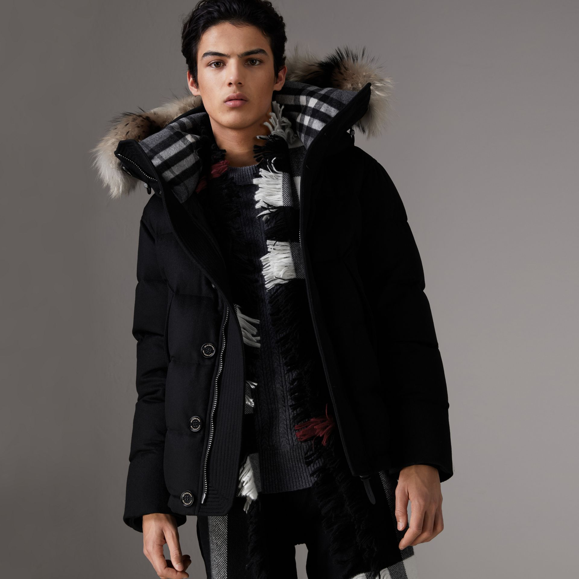Short Detachable Fur Trim Cashmere Puffer Jacket in Black - Men | Burberry - gallery image 0