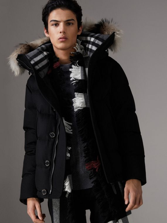 Short Detachable Fur Trim Cashmere Puffer Jacket in Black