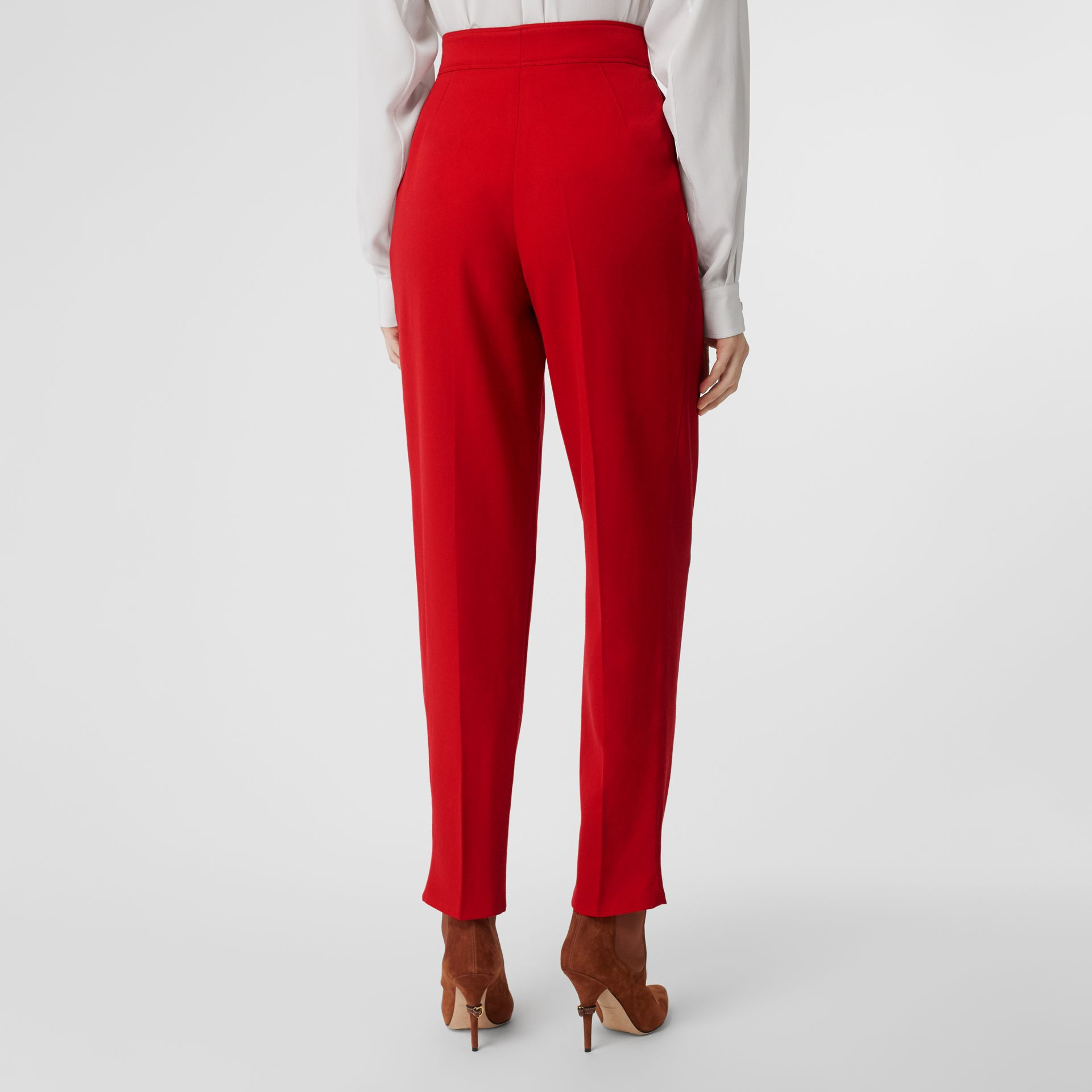 Pleat Detail Wool Tailored Trousers in Bright Red - Women | Burberry United Kingdom - gallery image 1