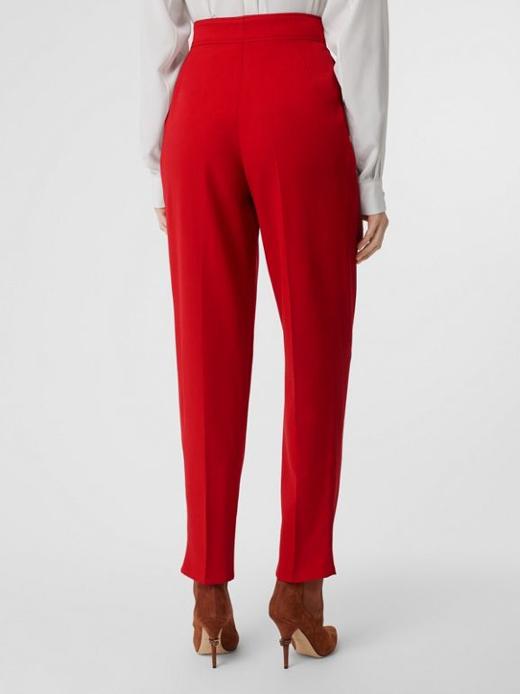 Pleat Detail Wool Tailored Trousers in Bright Red - Women | Burberry - cell image 1