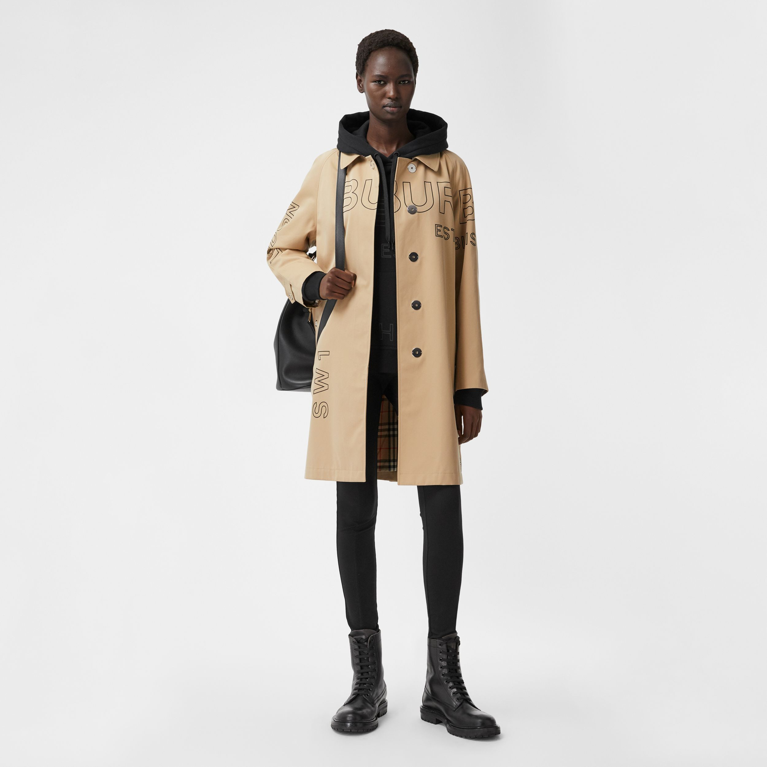 Horseferry Print Cotton Gabardine Car Coat in Honey - Women | Burberry United States - 1