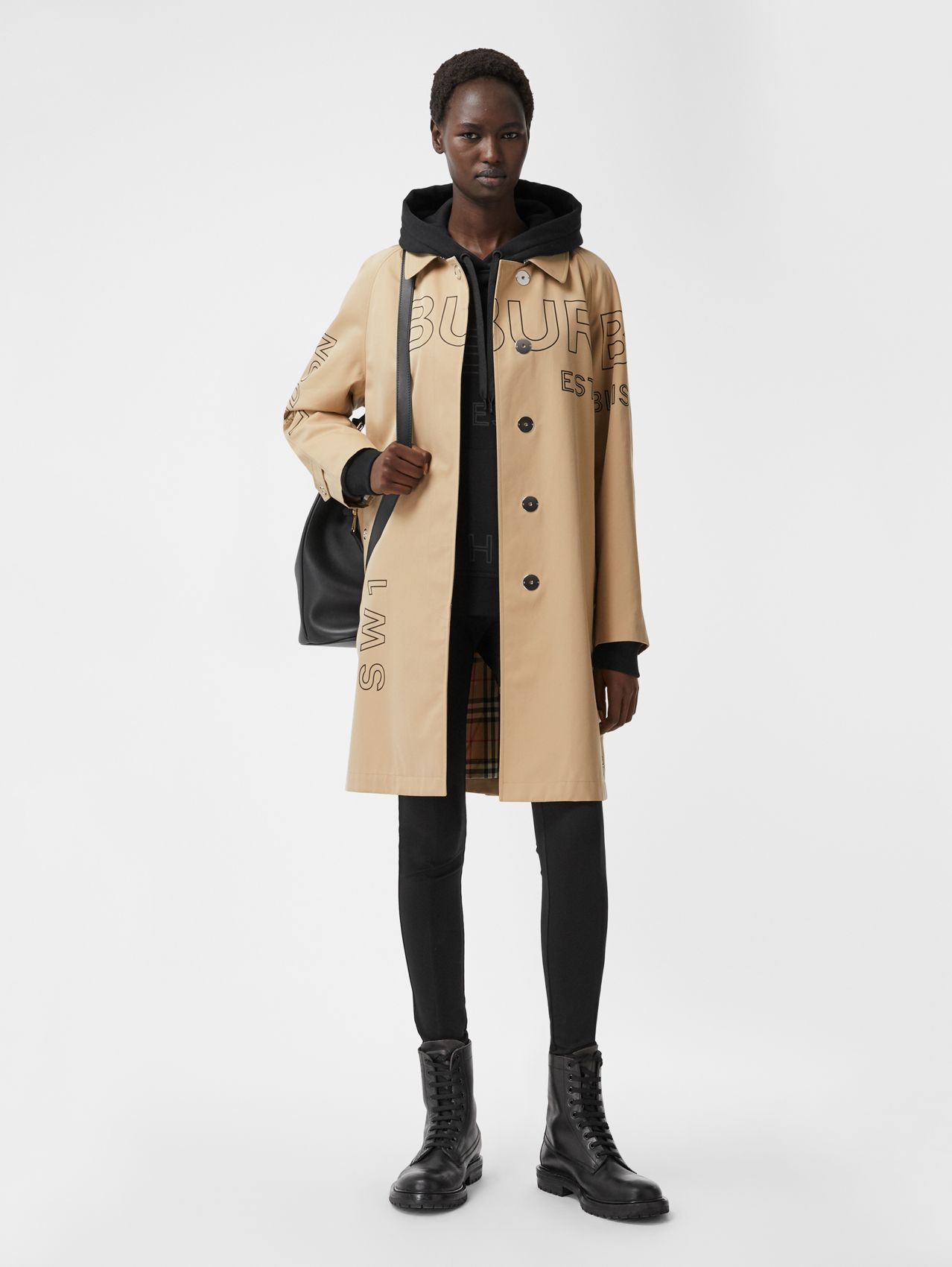 Horseferry Print Cotton Gabardine Car Coat in Honey
