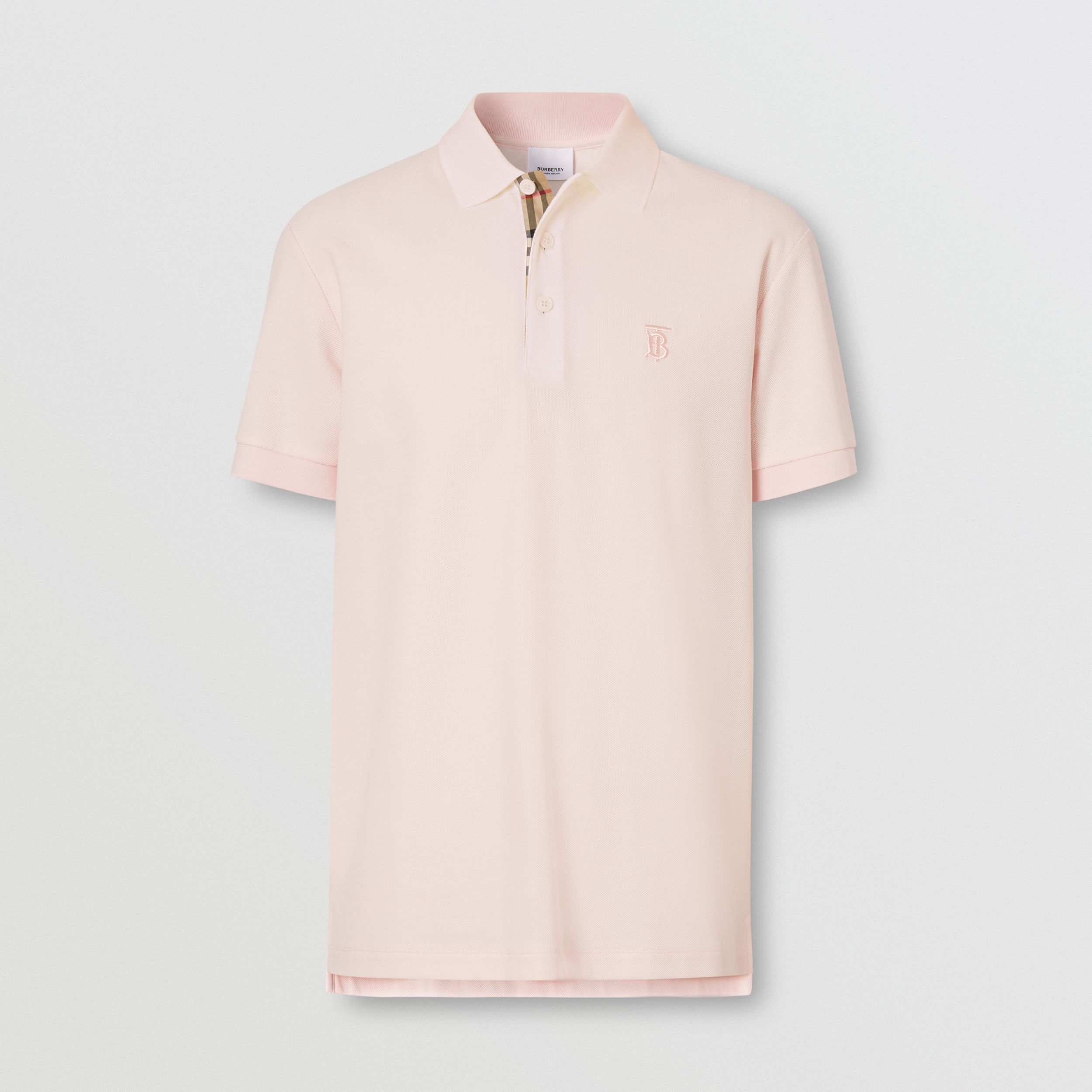 Monogram Motif Cotton Piqué Polo Shirt in Alabaster Pink - Men | Burberry - 4