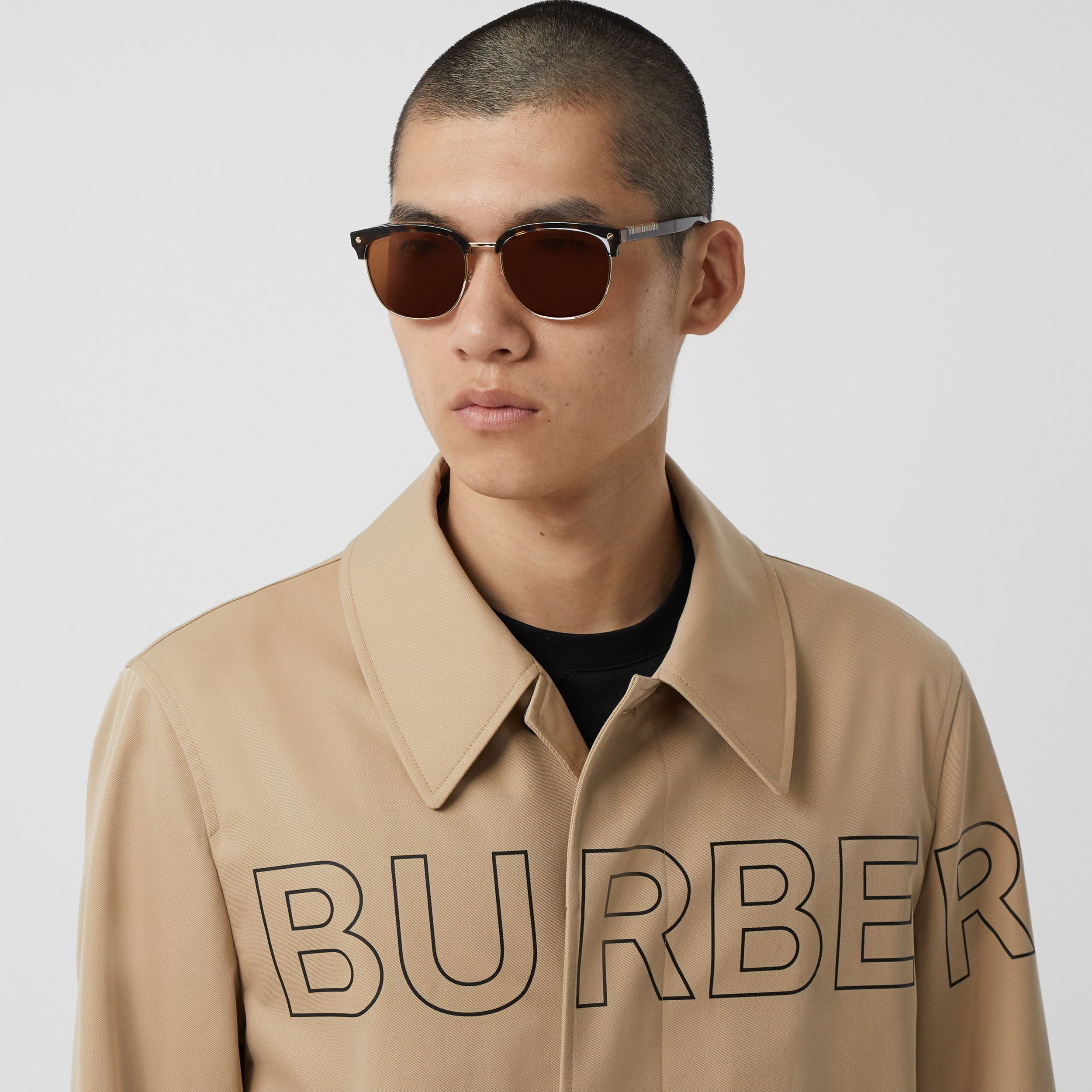 Horseferry Print Cotton Gabardine Car Coat in Honey - Men | Burberry - 2