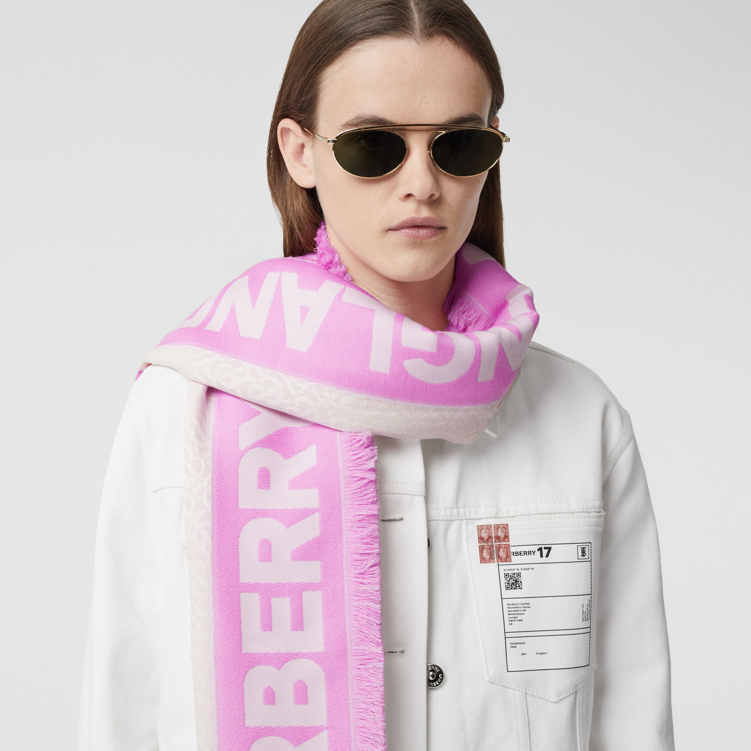 Monogram Fil Coupé Silk Blend Large Square Scarf in Pink | Burberry Australia - 3