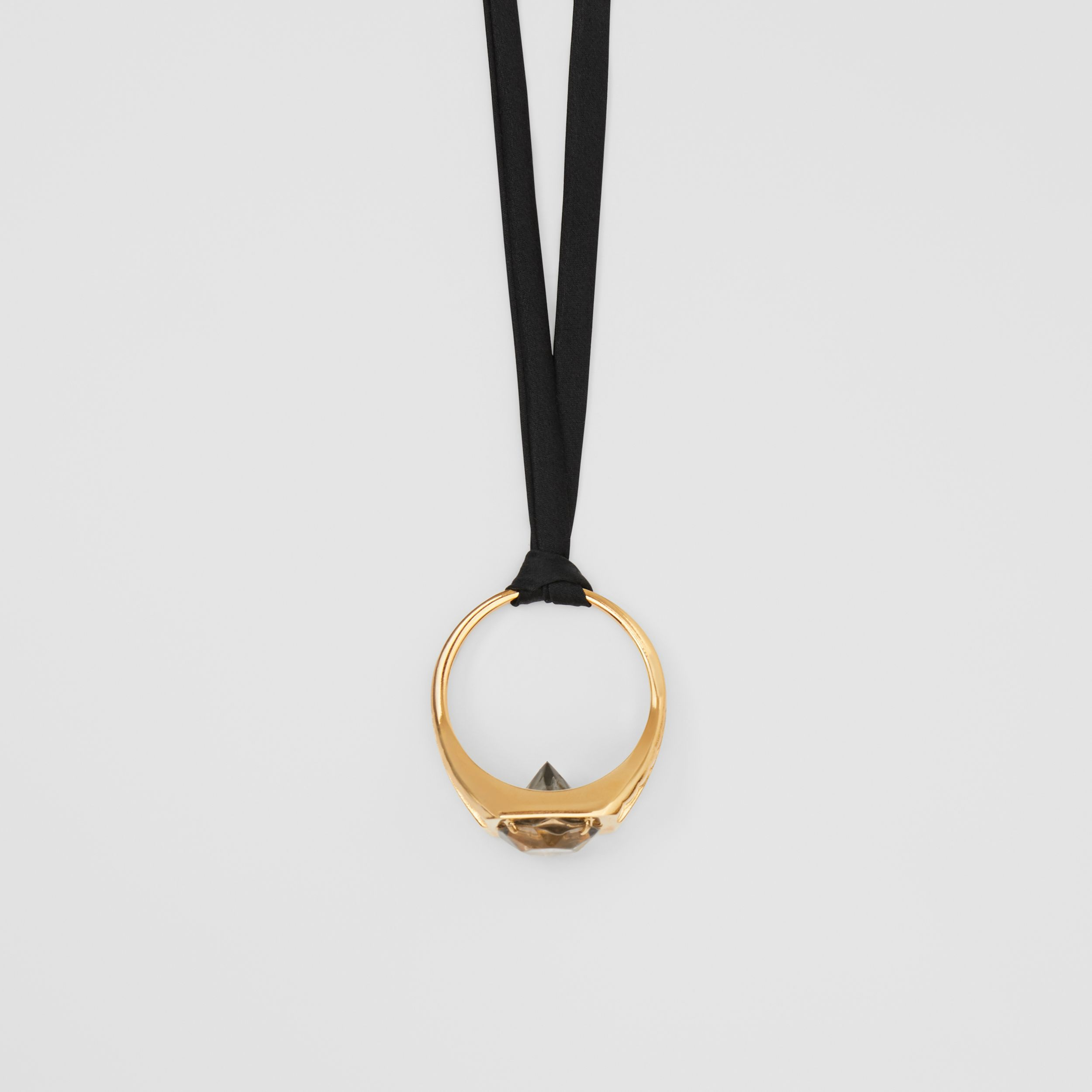 Gold-plated Ring Detail Silk Necklace in Light Gold/black - Women | Burberry - 2