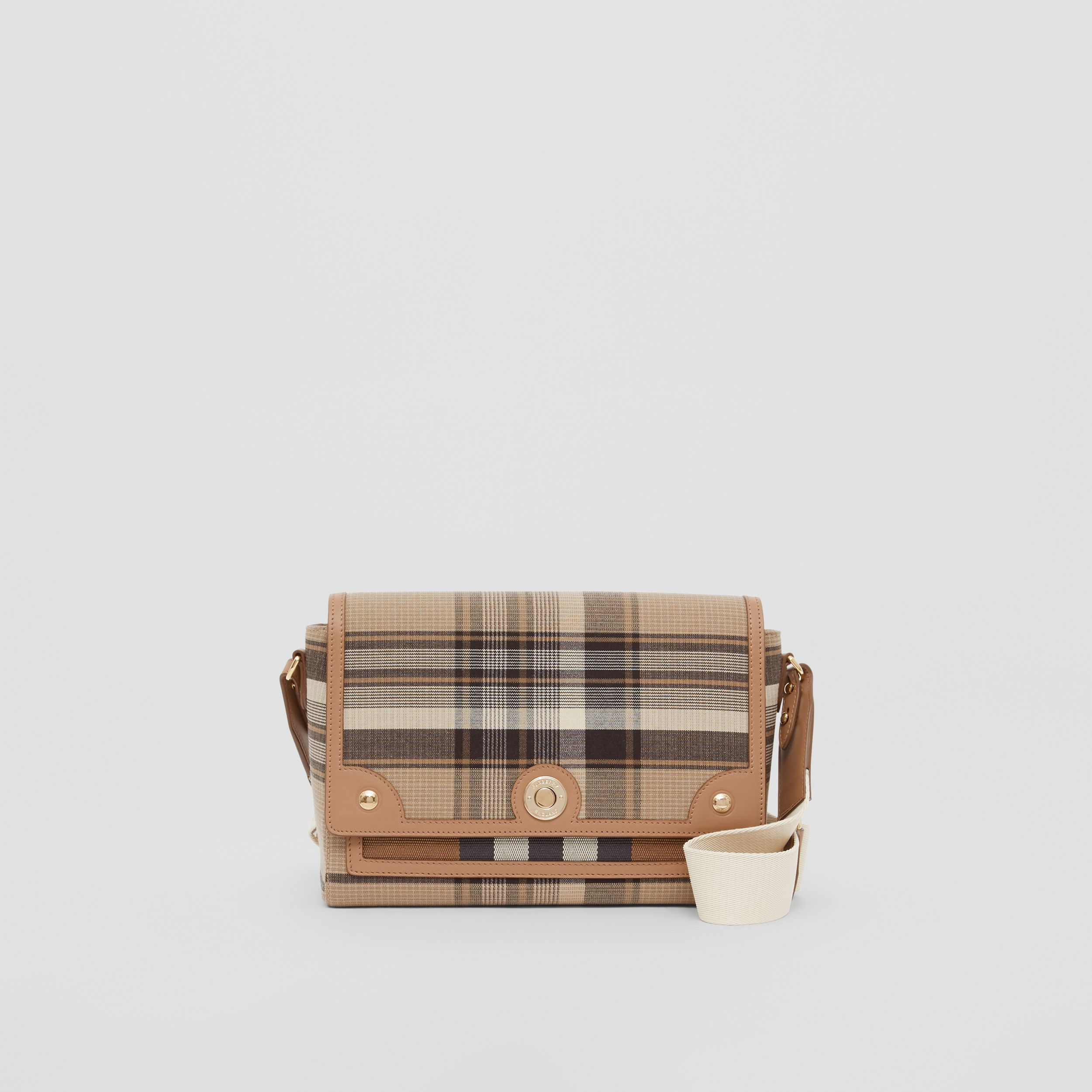 Tartan Wool Note Crossbody Bag in Light Fawn - Women | Burberry - 1