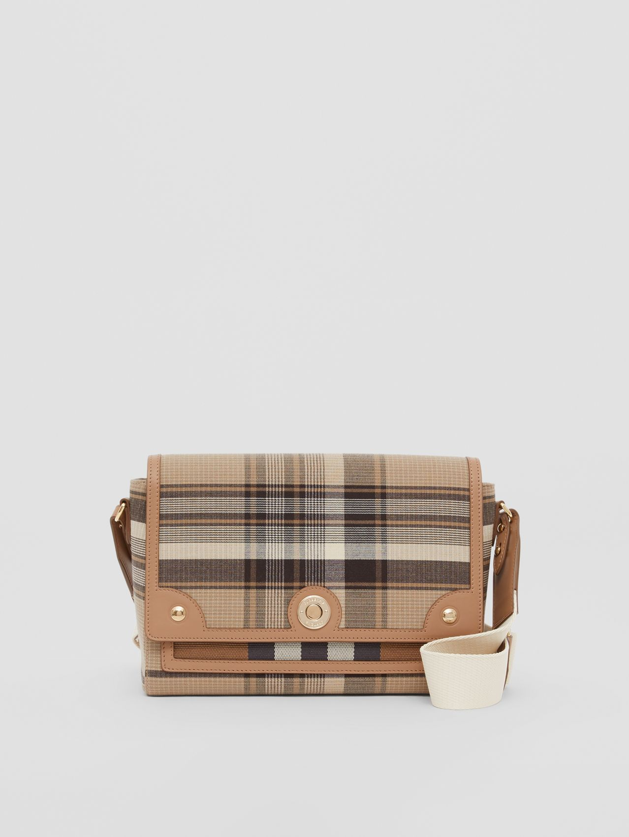 Tartan Wool Note Crossbody Bag in Light Fawn