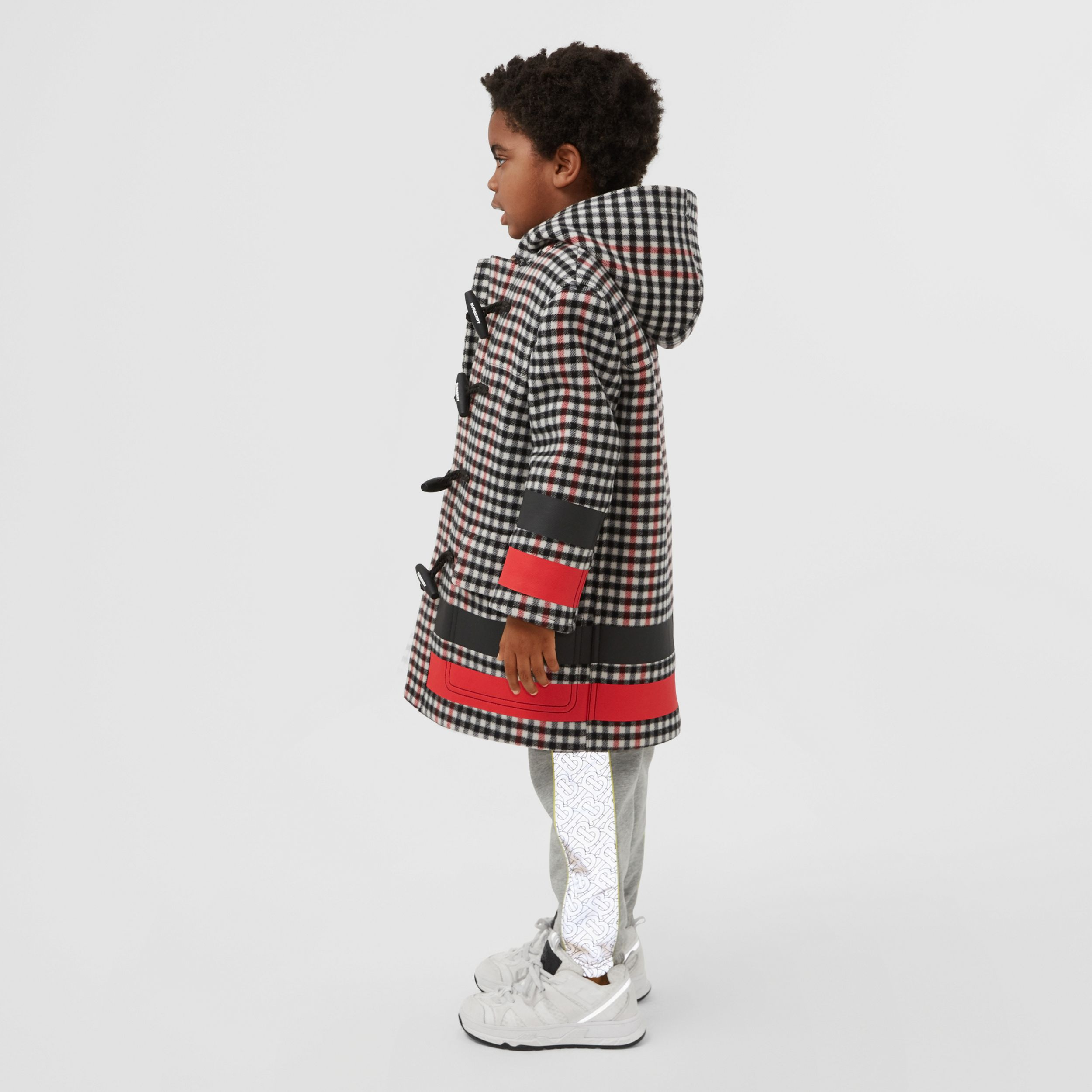 Stripe Print Check Wool Duffle Coat in Black | Burberry - 3