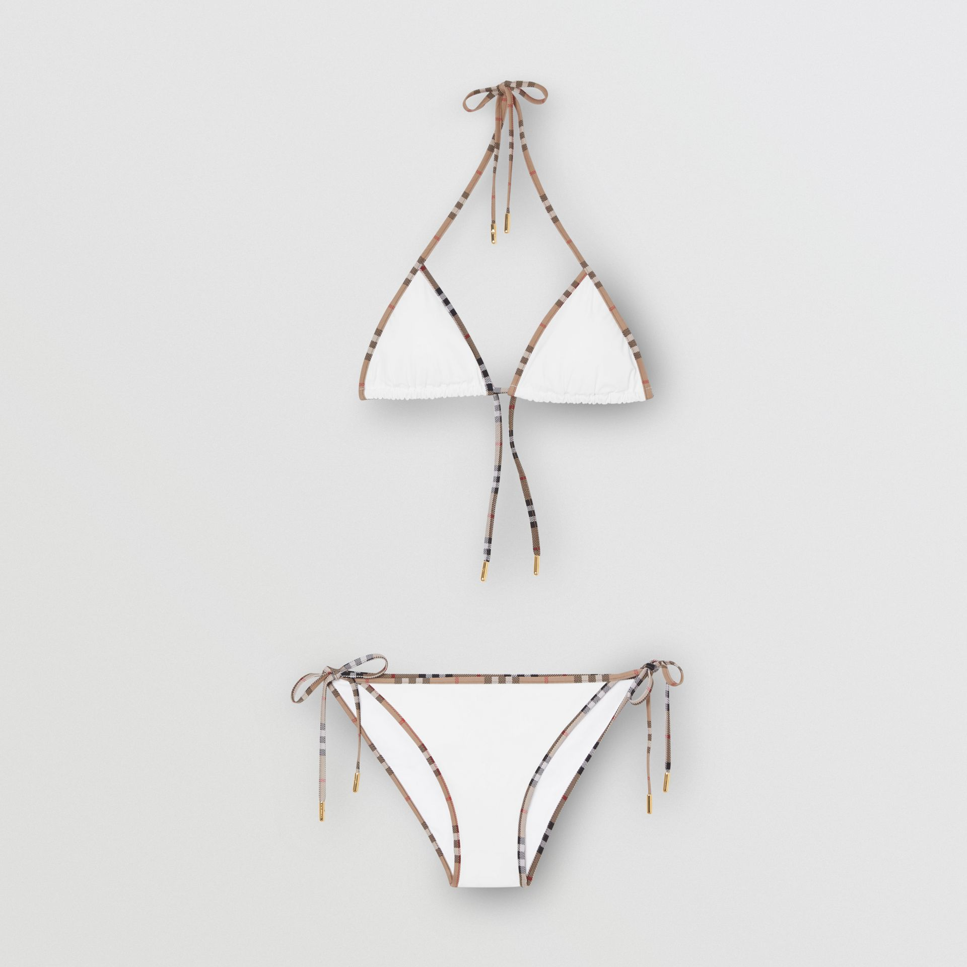 Vintage Check Detail Triangle Bikini in White | Burberry - gallery image 2