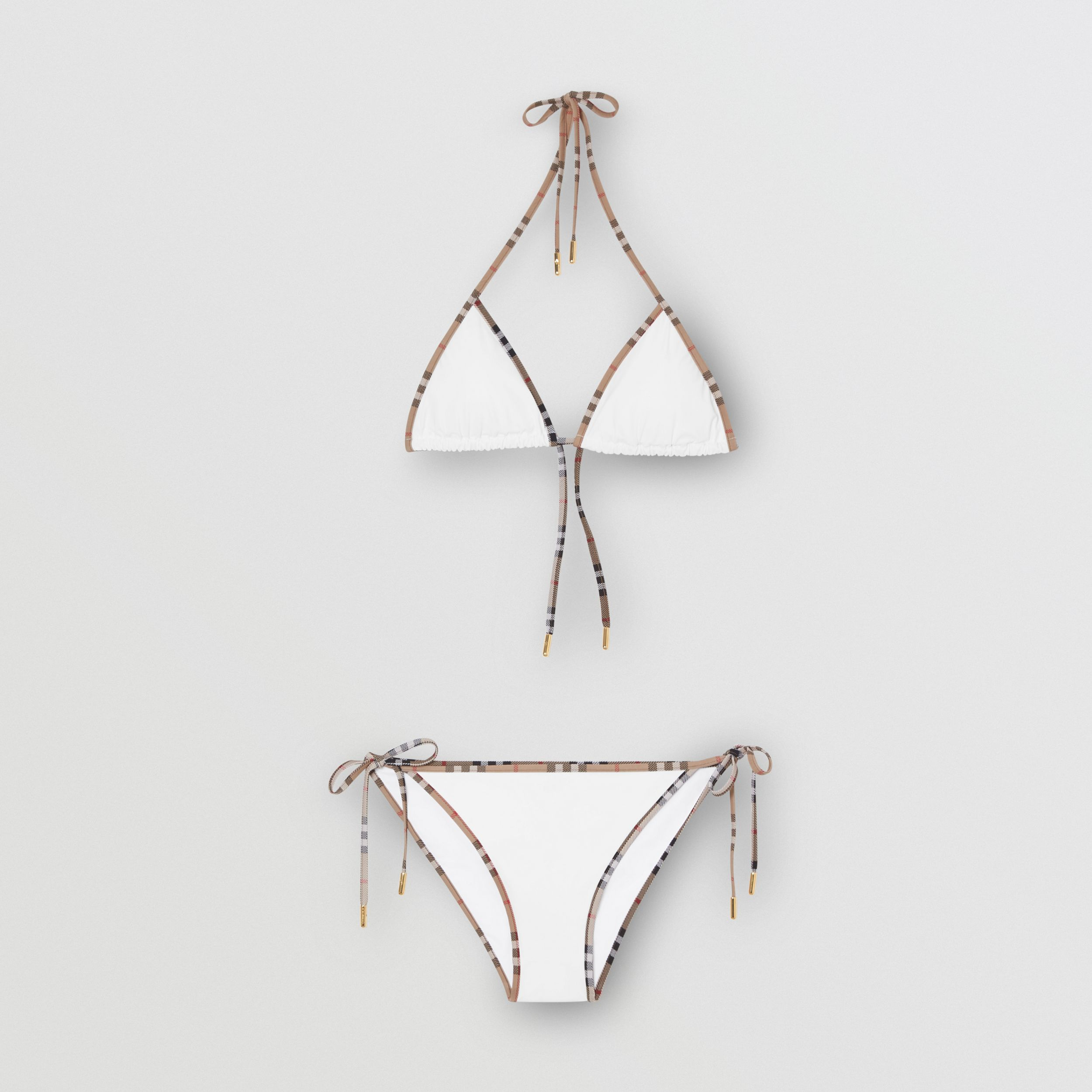 Vintage Check Detail Triangle Bikini in White - Women | Burberry Hong Kong S.A.R. - 3