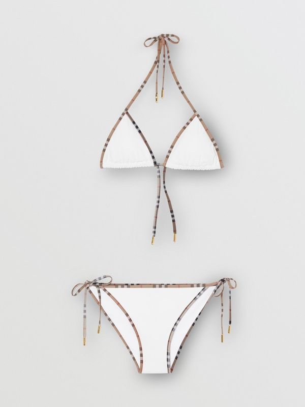 Vintage Check Detail Triangle Bikini in White | Burberry Australia - cell image 2