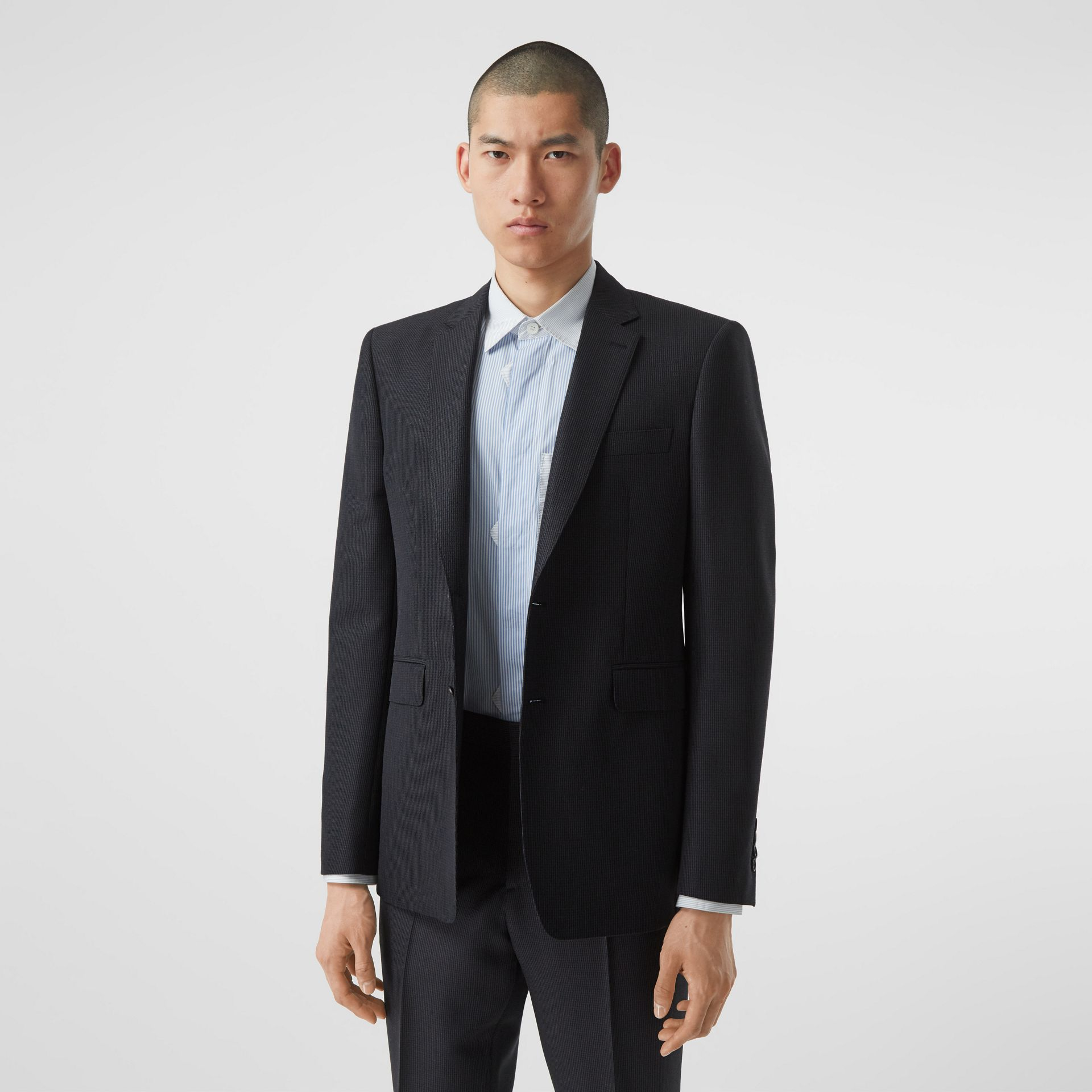 Classic Fit Puppytooth Check Wool Mohair Suit in Navy - Men | Burberry - gallery image 6