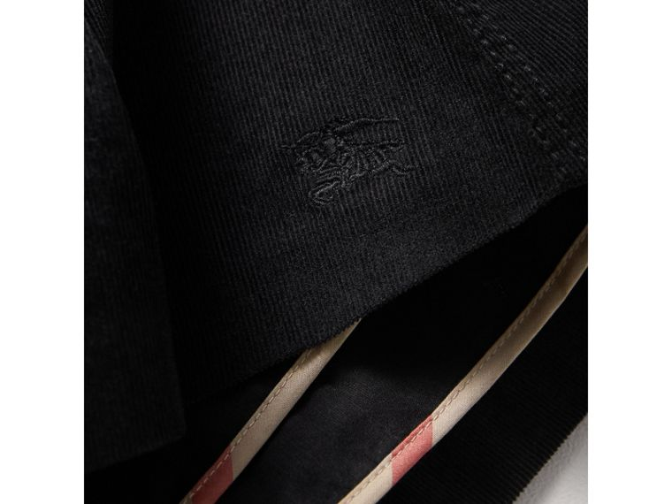Pleated Cotton Corduroy Skirt in Black - Girl | Burberry Australia - cell image 1