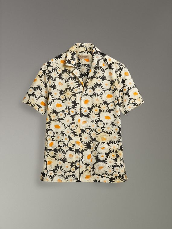 Short-sleeve Daisy Print Cotton Utility Shirt in Black - Men | Burberry - cell image 3