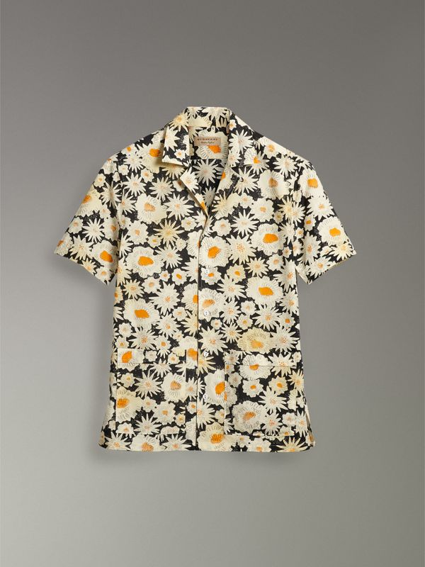 Short-sleeve Daisy Print Cotton Utility Shirt in Black - Men | Burberry Singapore - cell image 3