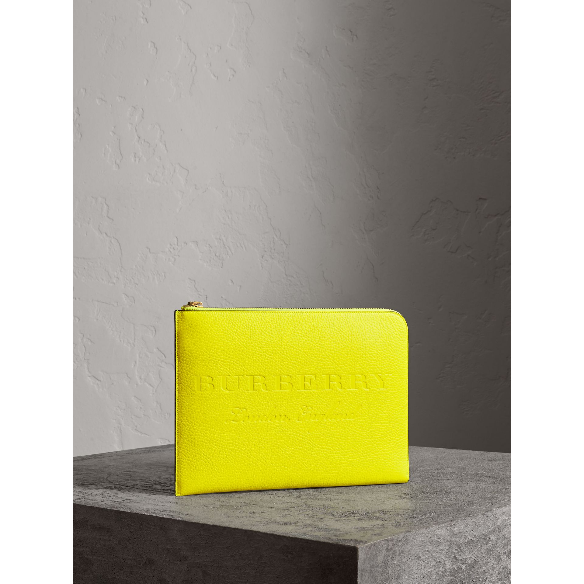 Embossed Leather Document Case in Neon Yellow - Men | Burberry - gallery image 6