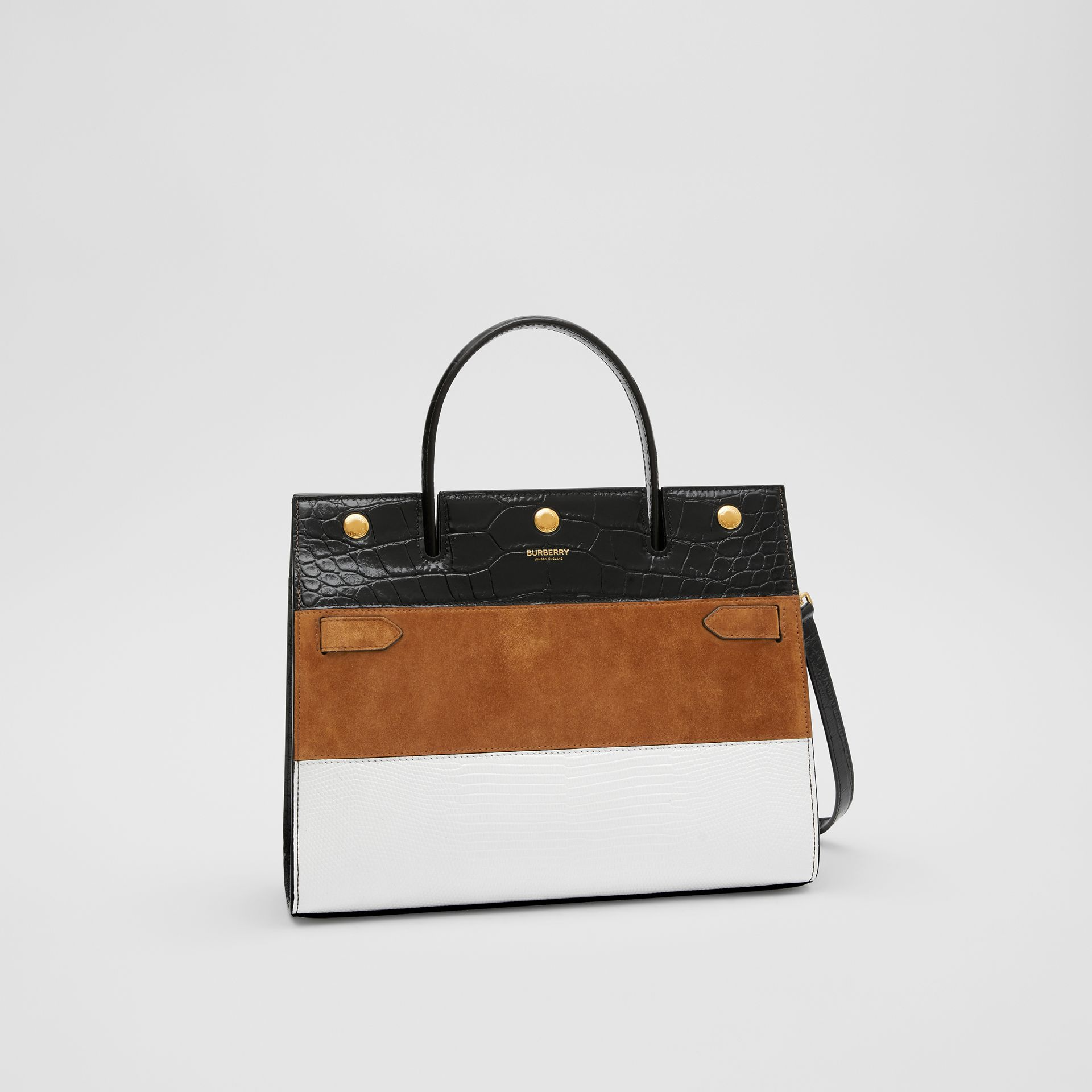 Small Panelled Leather, Suede and Deerskin Title Bag in White/maple - Women | Burberry - gallery image 6