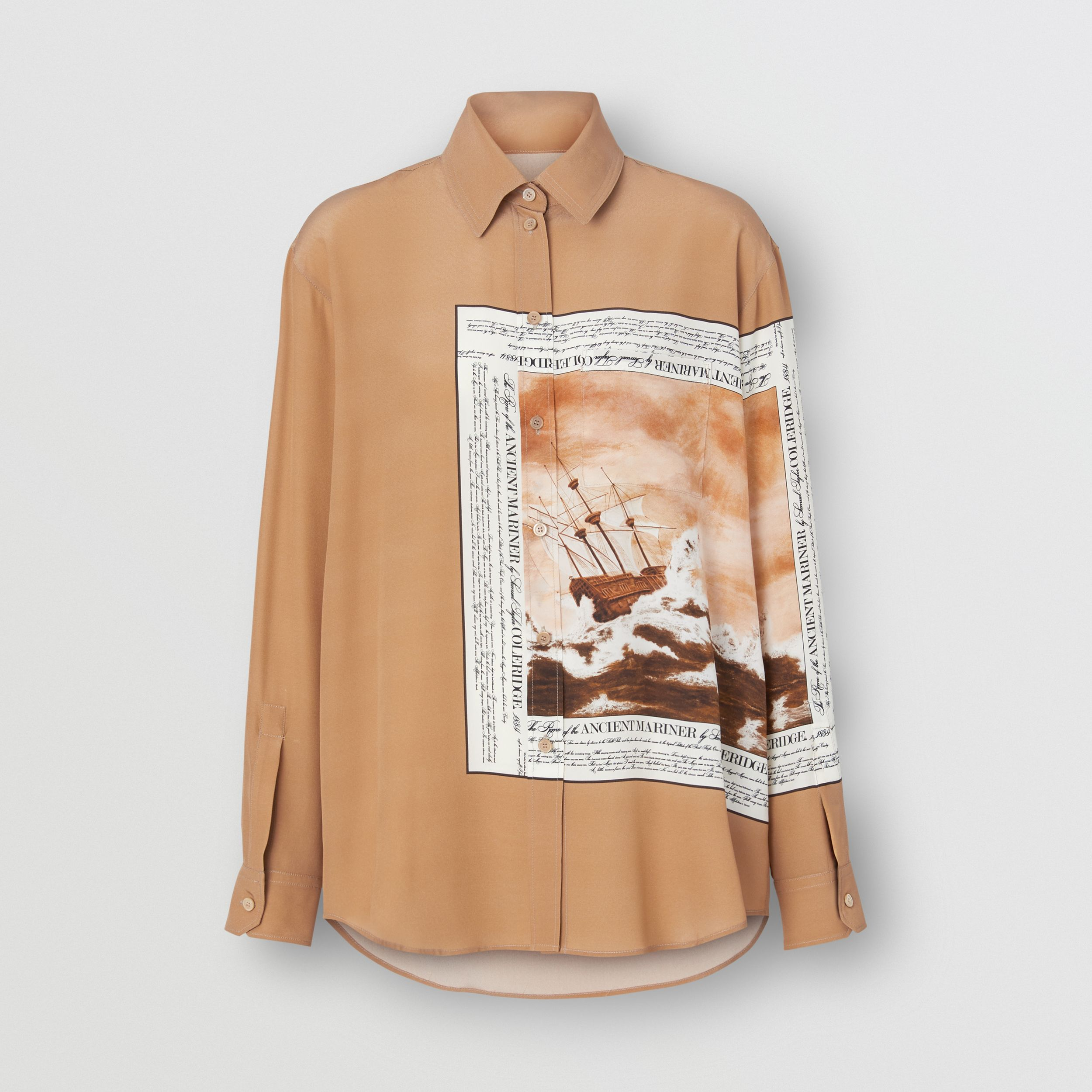 Mariner Print Silk Oversized Shirt in Bronze - Women | Burberry - 4