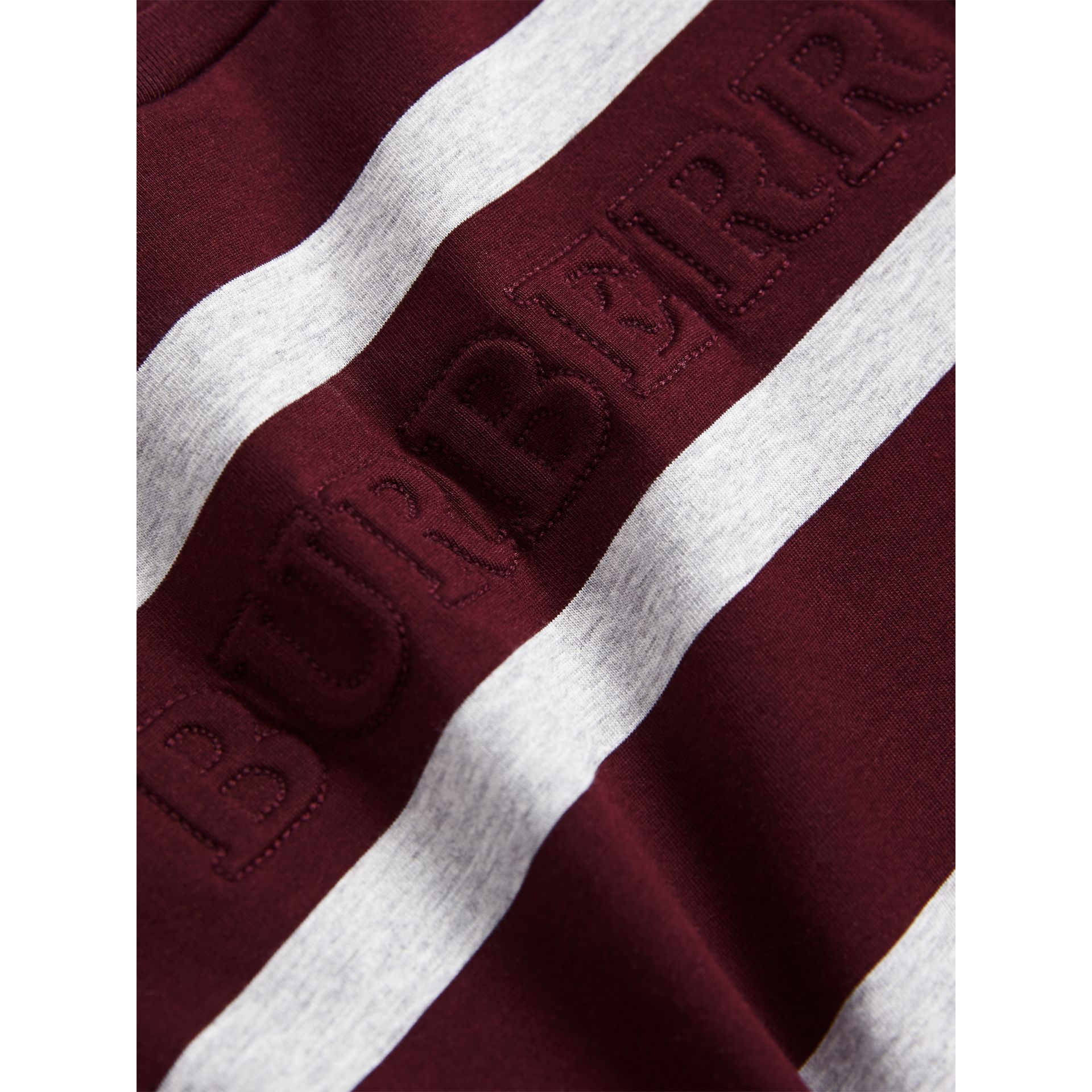 Long-sleeve Striped Cotton T-shirt in Burgundy/grey Melange - Boy | Burberry - gallery image 2