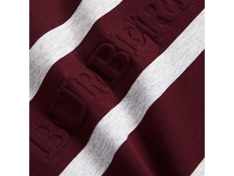 Long-sleeve Striped Cotton T-shirt in Burgundy/grey Melange - Boy | Burberry - cell image 1