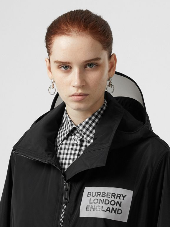 Detachable Hood Shape-memory Taffeta Jacket in Black - Women | Burberry Australia - cell image 1