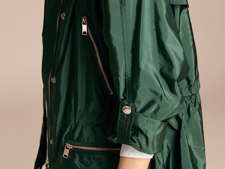 Deep bottle green Showerproof Parka Jacket with Packaway Hood Deep Bottle Green - cell image 4