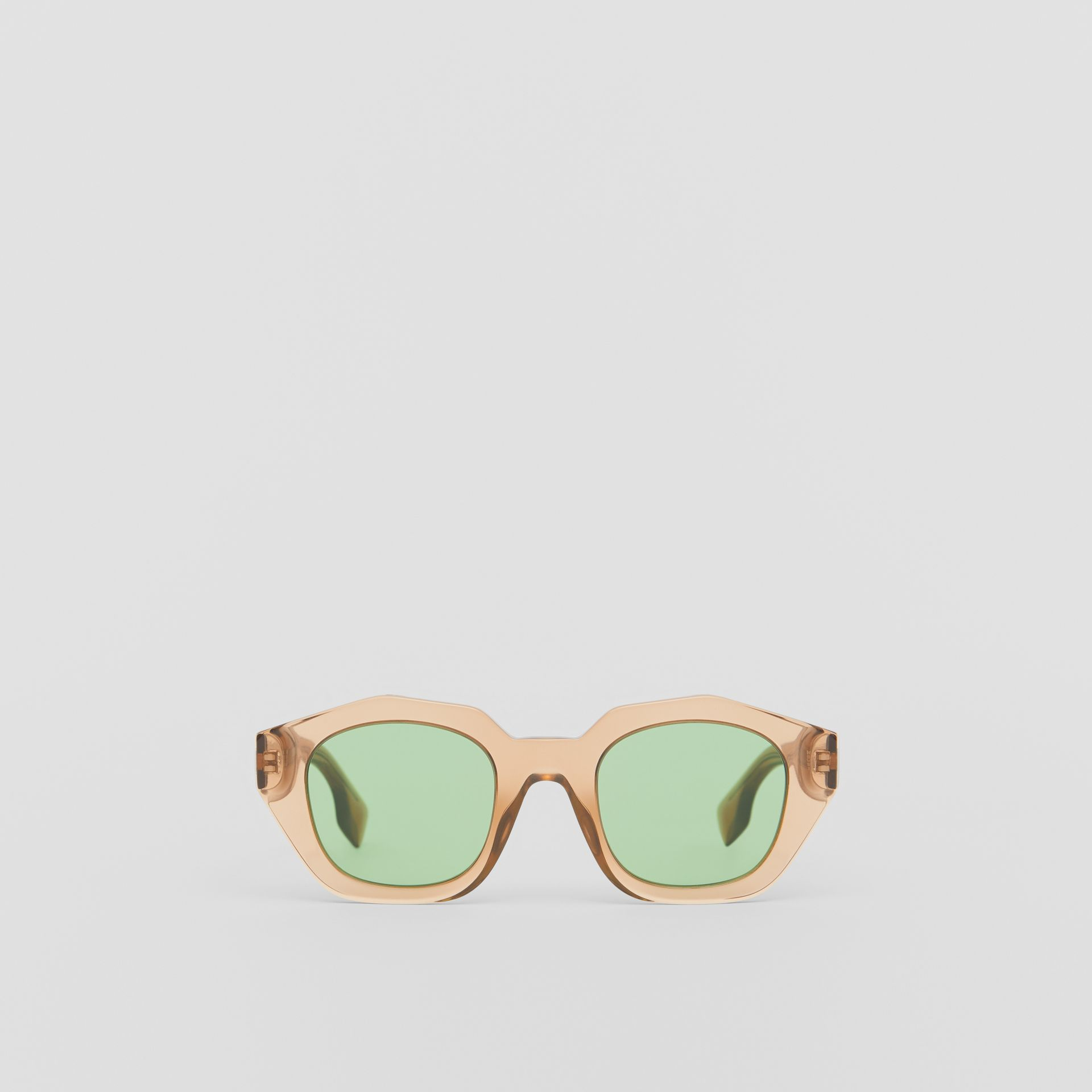 Geometric Frame Sunglasses in Brown - Women | Burberry United Kingdom - gallery image 0