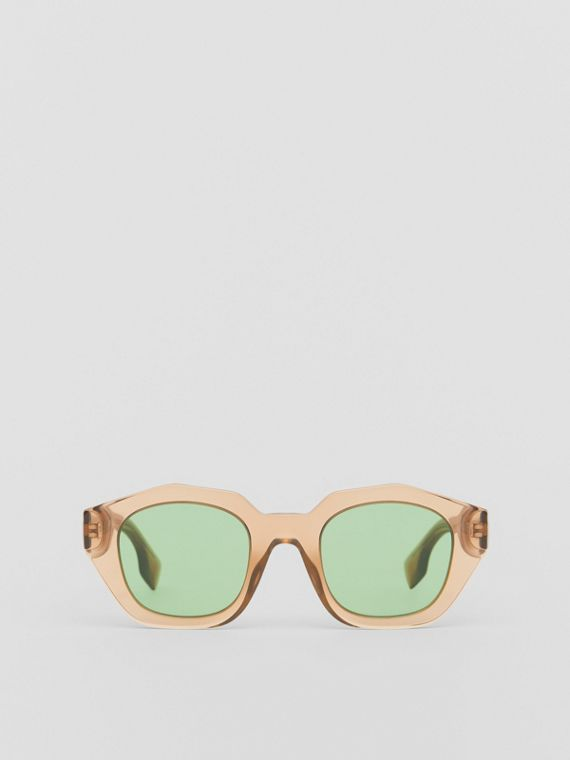Geometric Frame Sunglasses in Brown