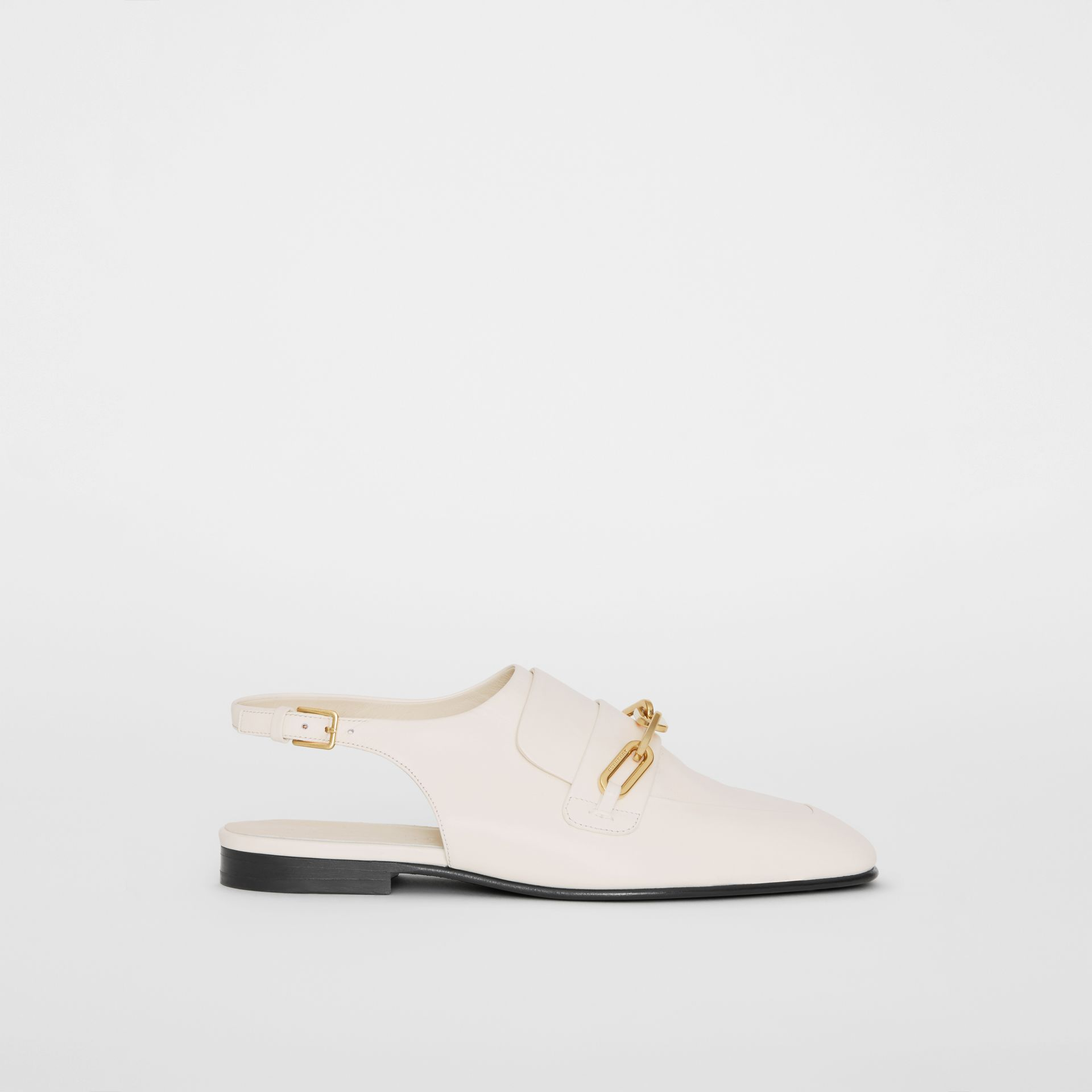 Link Detail Leather Slingback Loafers in Ash White - Women | Burberry United States - gallery image 4