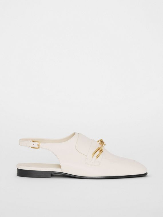 Link Detail Leather Slingback Loafers in Ash White