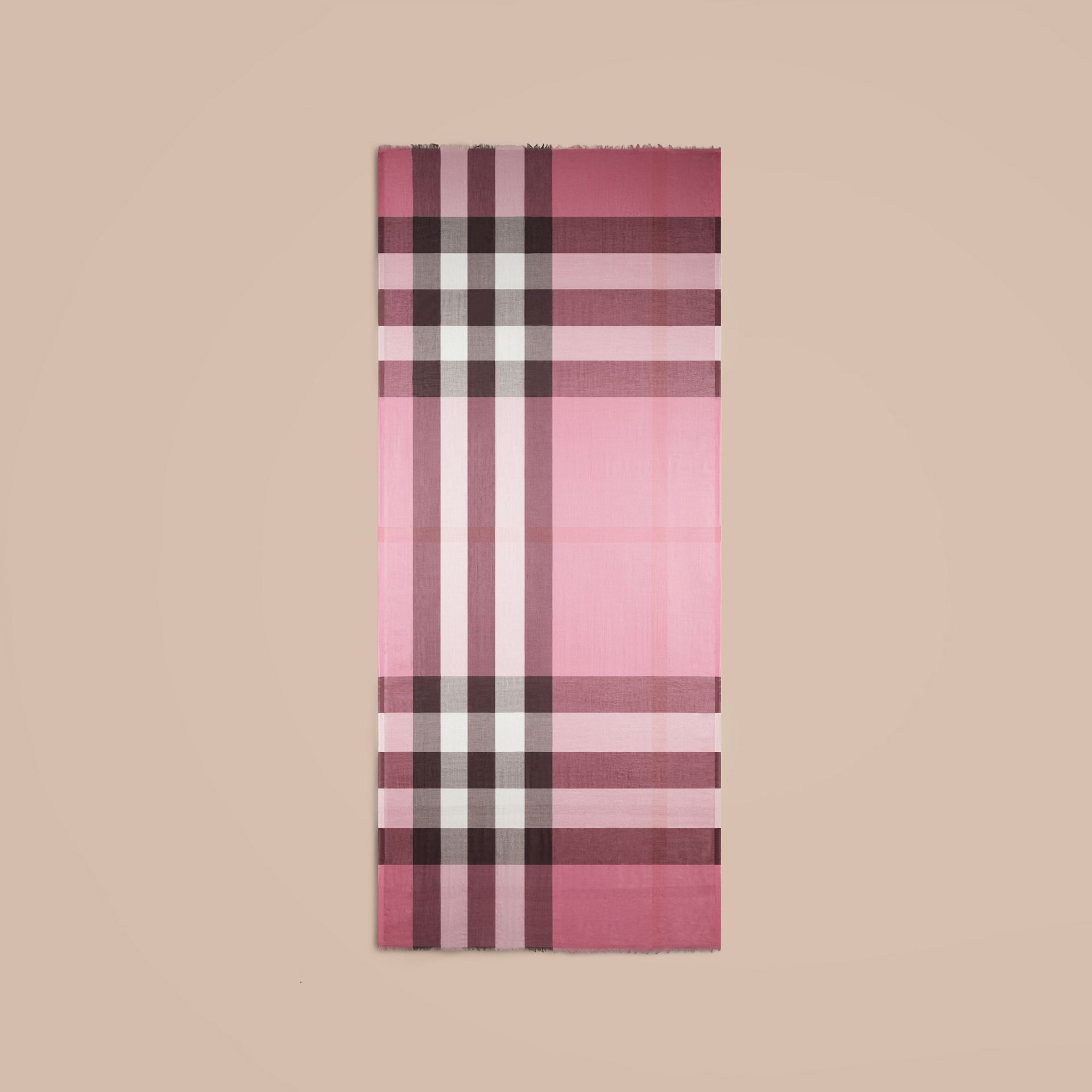 Rose pink Check Modal Cashmere and Silk Scarf Rose Pink - gallery image 4