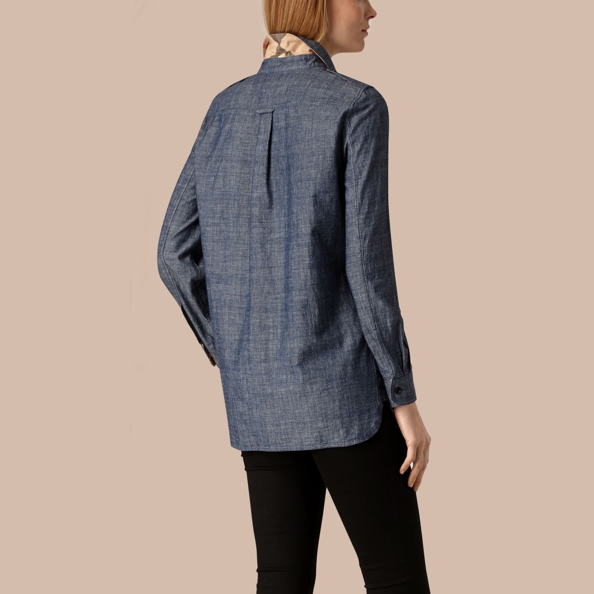 Light indigo Check Detail Cotton Chambray Tunic Shirt - gallery image 4