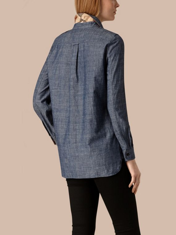 Light indigo Check Detail Cotton Chambray Tunic Shirt - cell image 3