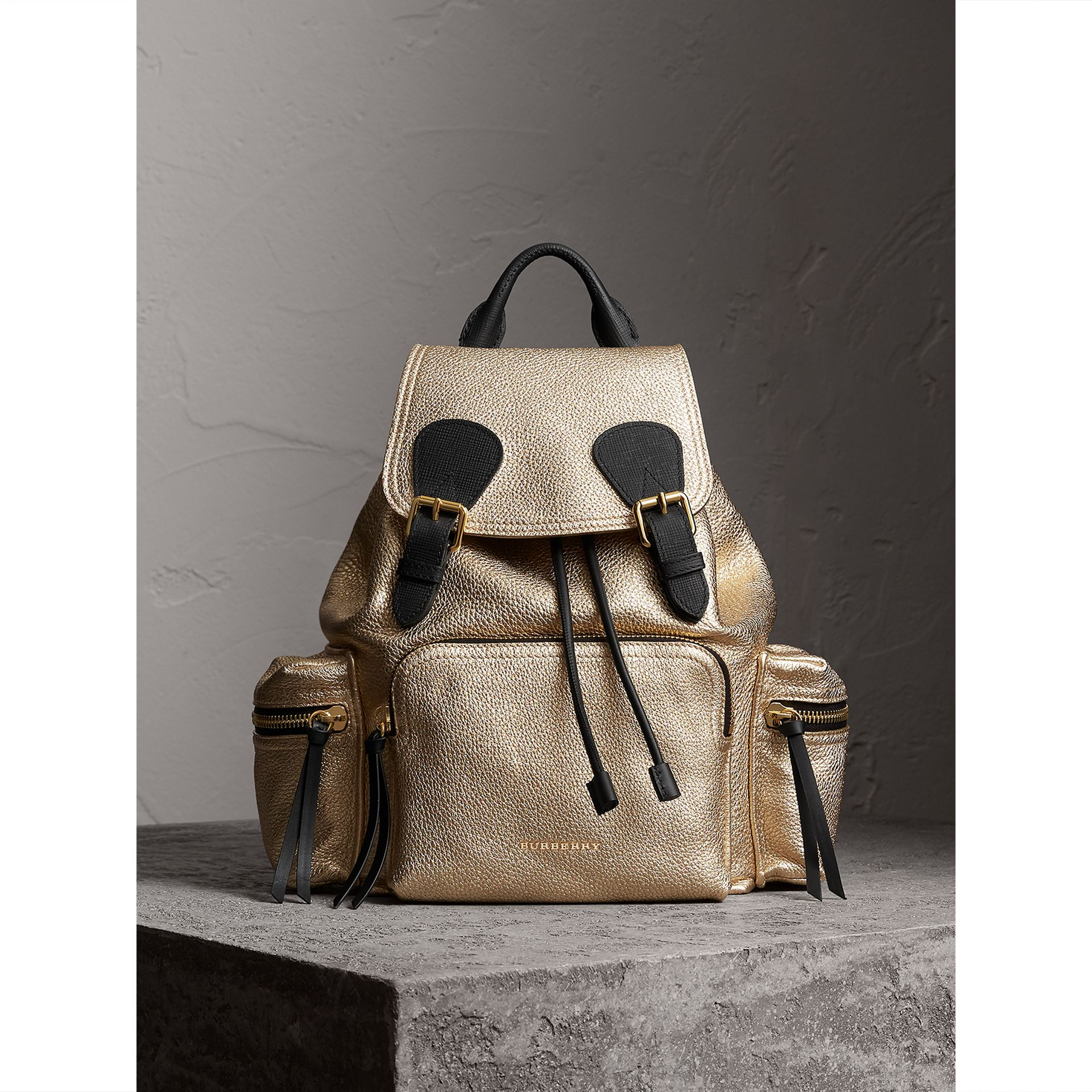 The Medium Rucksack in Metallic Deerskin in Nude Gold - Women | Burberry - gallery image 5