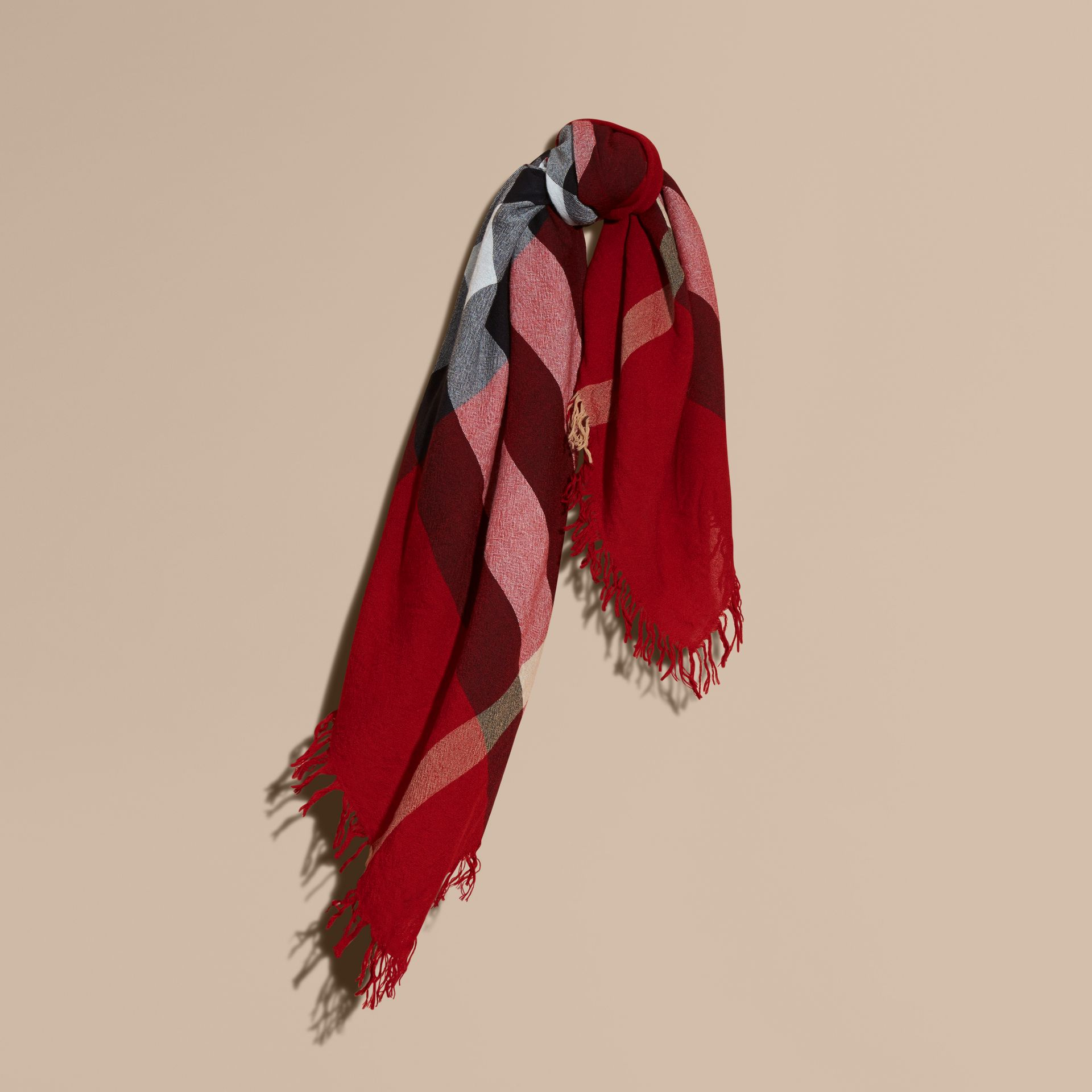 Check Wool Square - Large in Parade Red | Burberry Singapore - gallery image 1