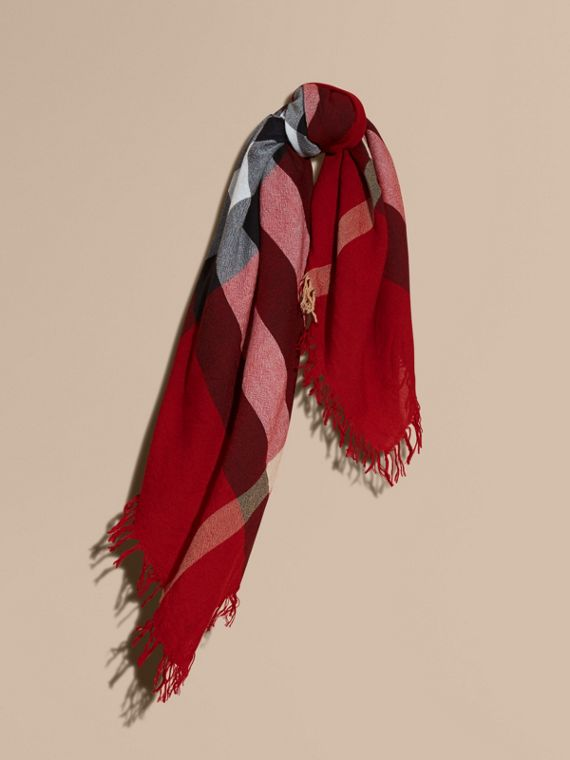 Check Wool Square - Large in Parade Red | Burberry