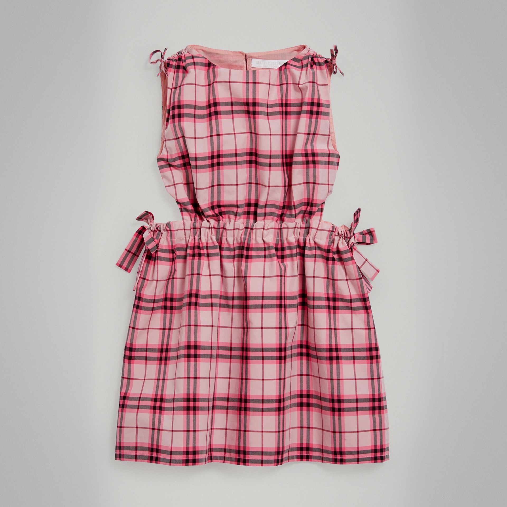 Tie Detail Check Cotton Dress in Bright Rose - Girl | Burberry United Kingdom - gallery image 0
