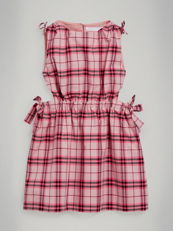 Tie Detail Check Cotton Dress in Bright Rose