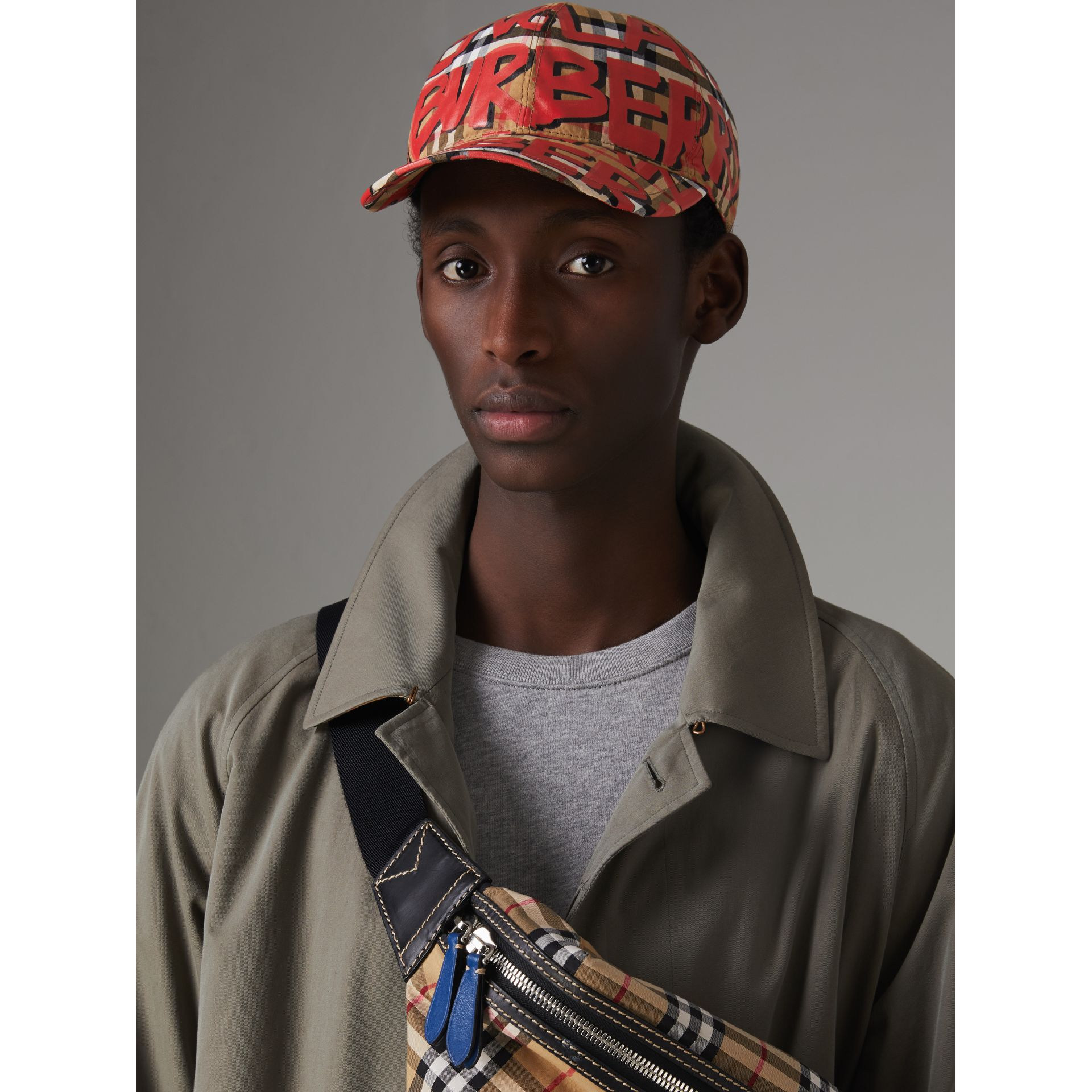 Graffiti Print Vintage Check Baseball Cap in Red | Burberry - gallery image 3