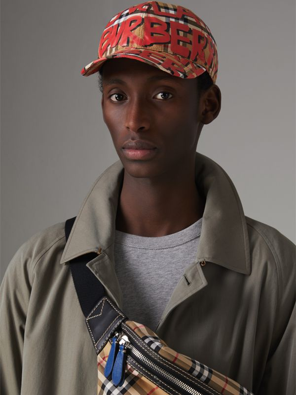 Graffiti Print Vintage Check Baseball Cap in Red | Burberry - cell image 3