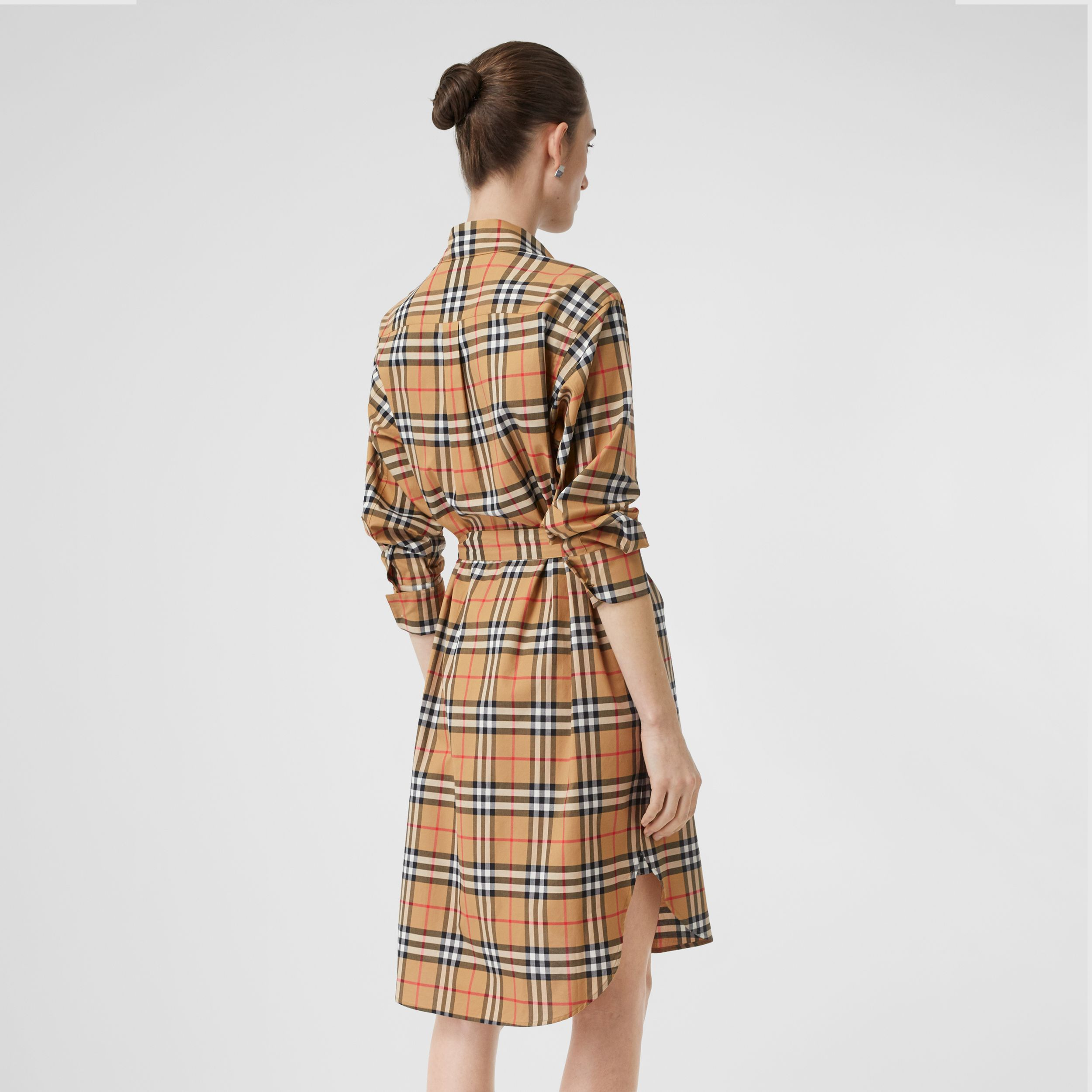 Vintage Check Cotton Tie-waist Shirt Dress in Antique Yellow - Women | Burberry Canada - 3