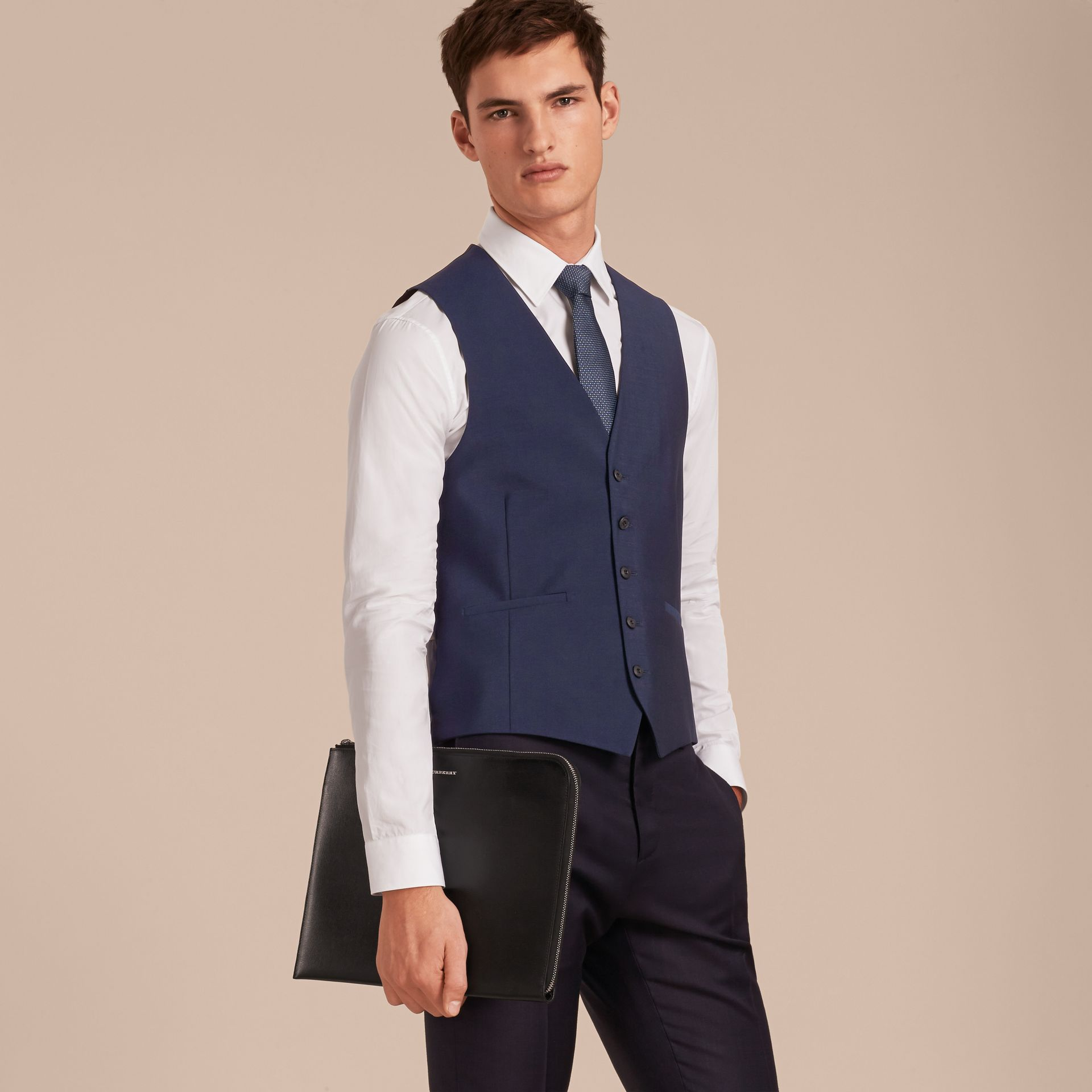 Modern Fit Wool Mohair Tailored Waistcoat in Navy - Men | Burberry Canada - gallery image 6