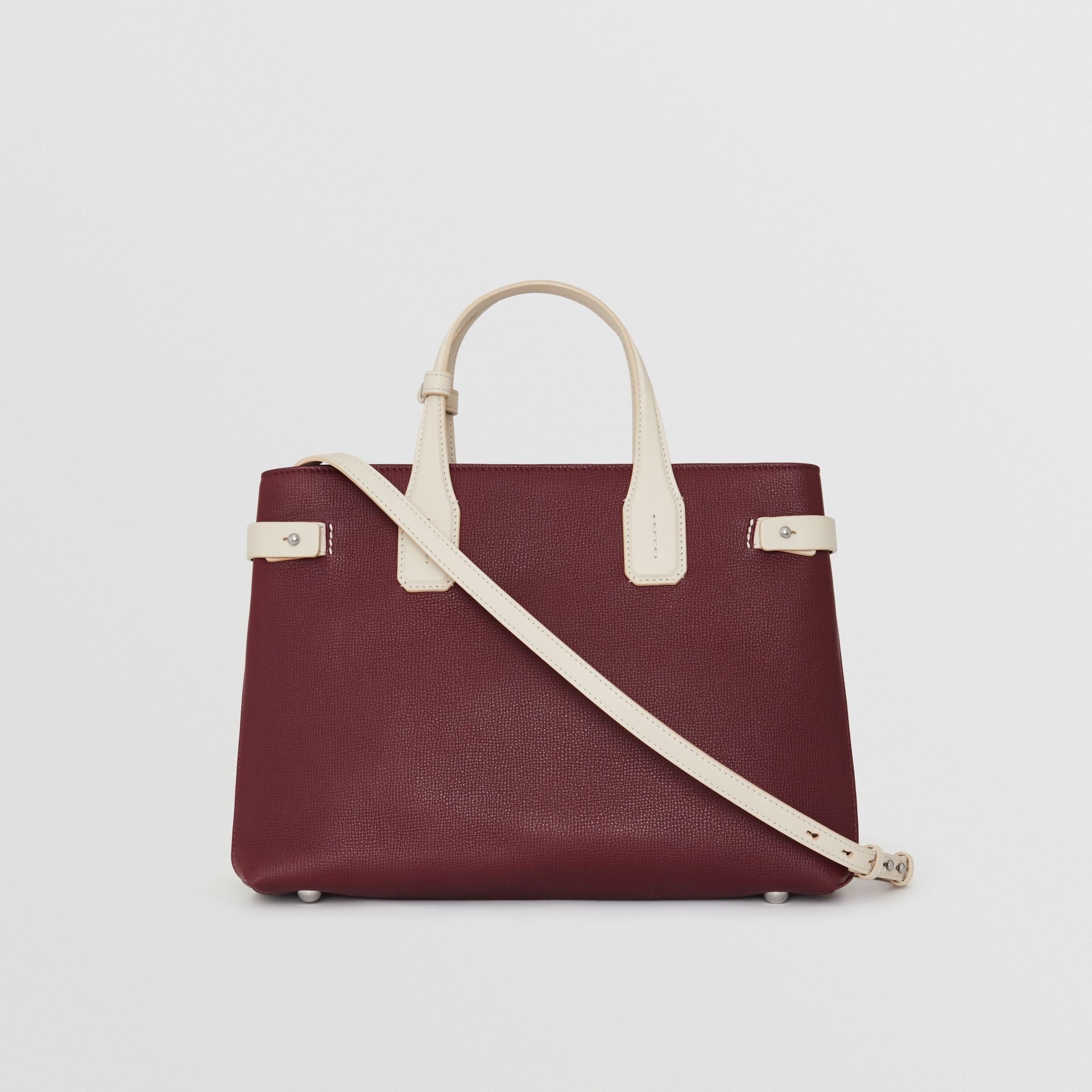The Medium Banner in Two-tone Leather in Mahogany Red/limestone - Women | Burberry United Kingdom - gallery image 7