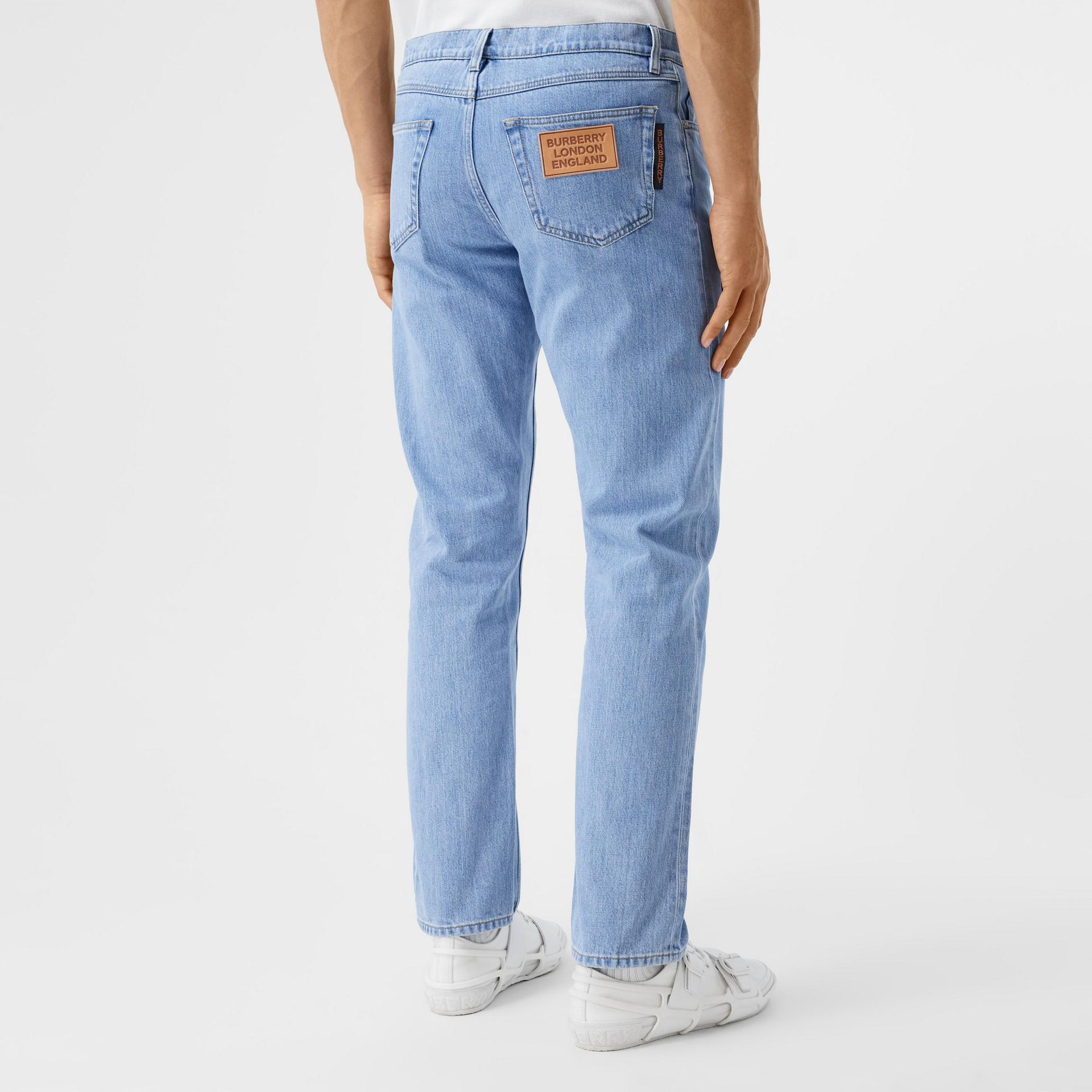 Straight Fit Japanese Denim Jeans in Light Indigo Blue - Men   Burberry - gallery image 2