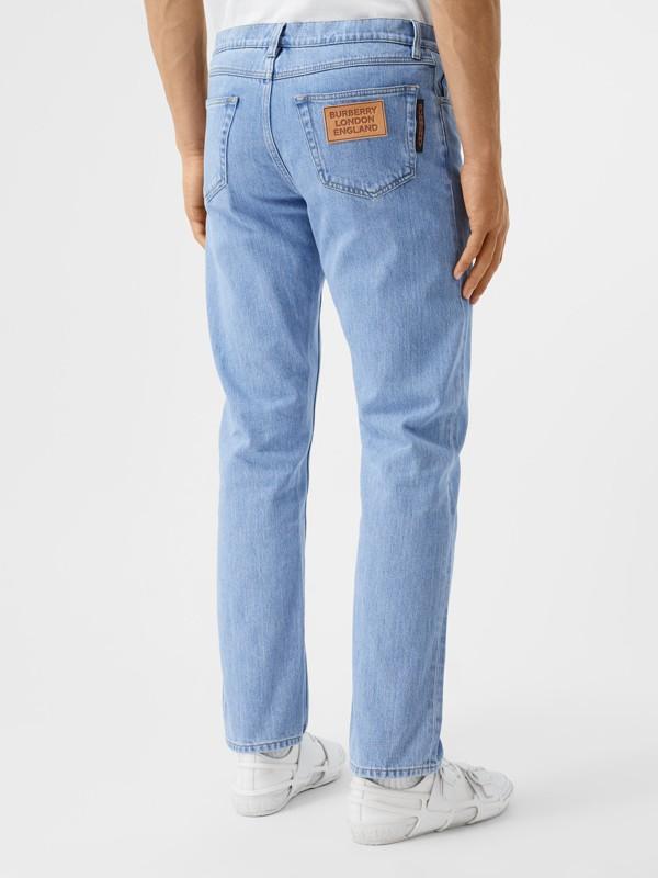 Straight Fit Japanese Denim Jeans in Light Indigo Blue - Men   Burberry - cell image 2